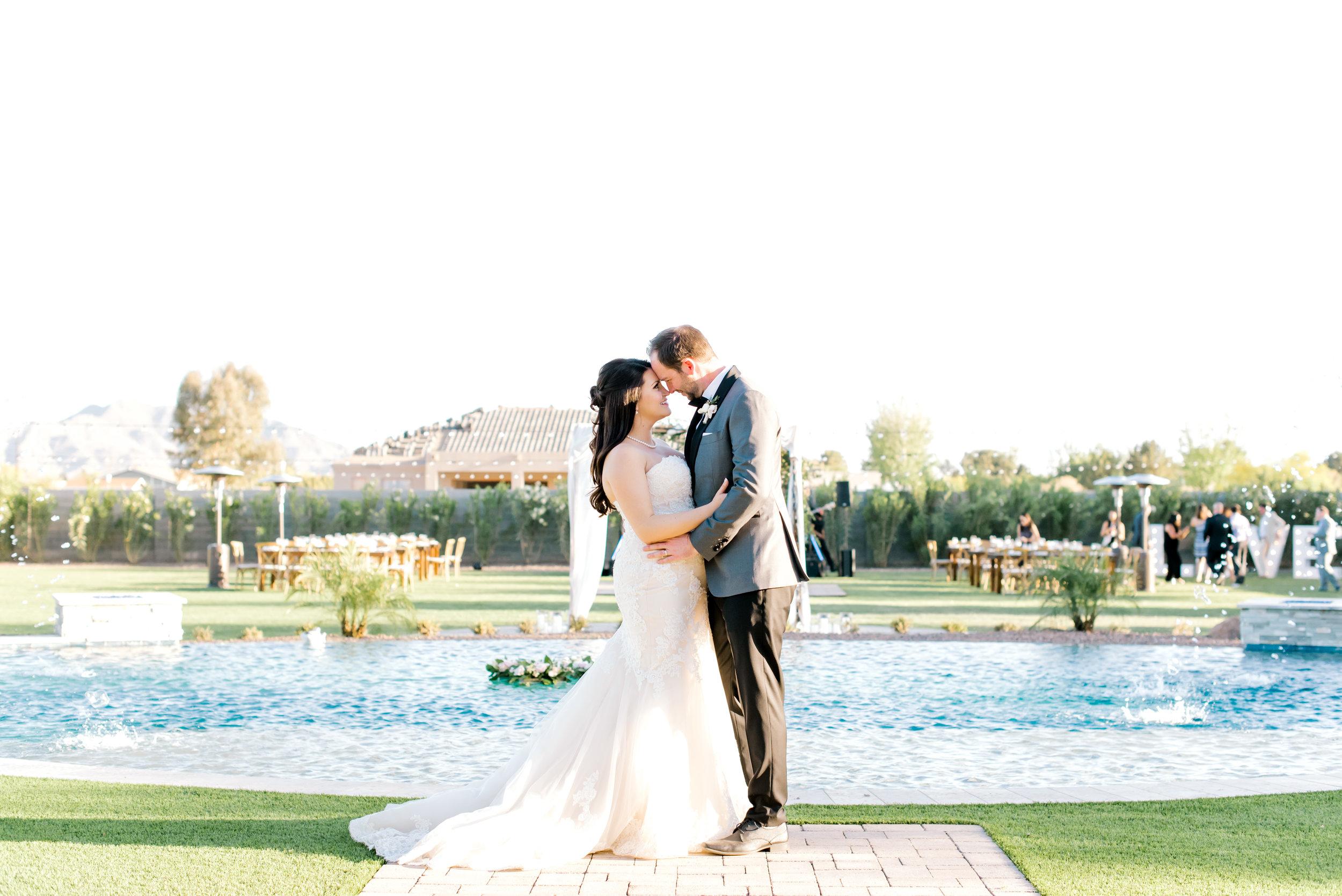 Blush and white backyard wedding