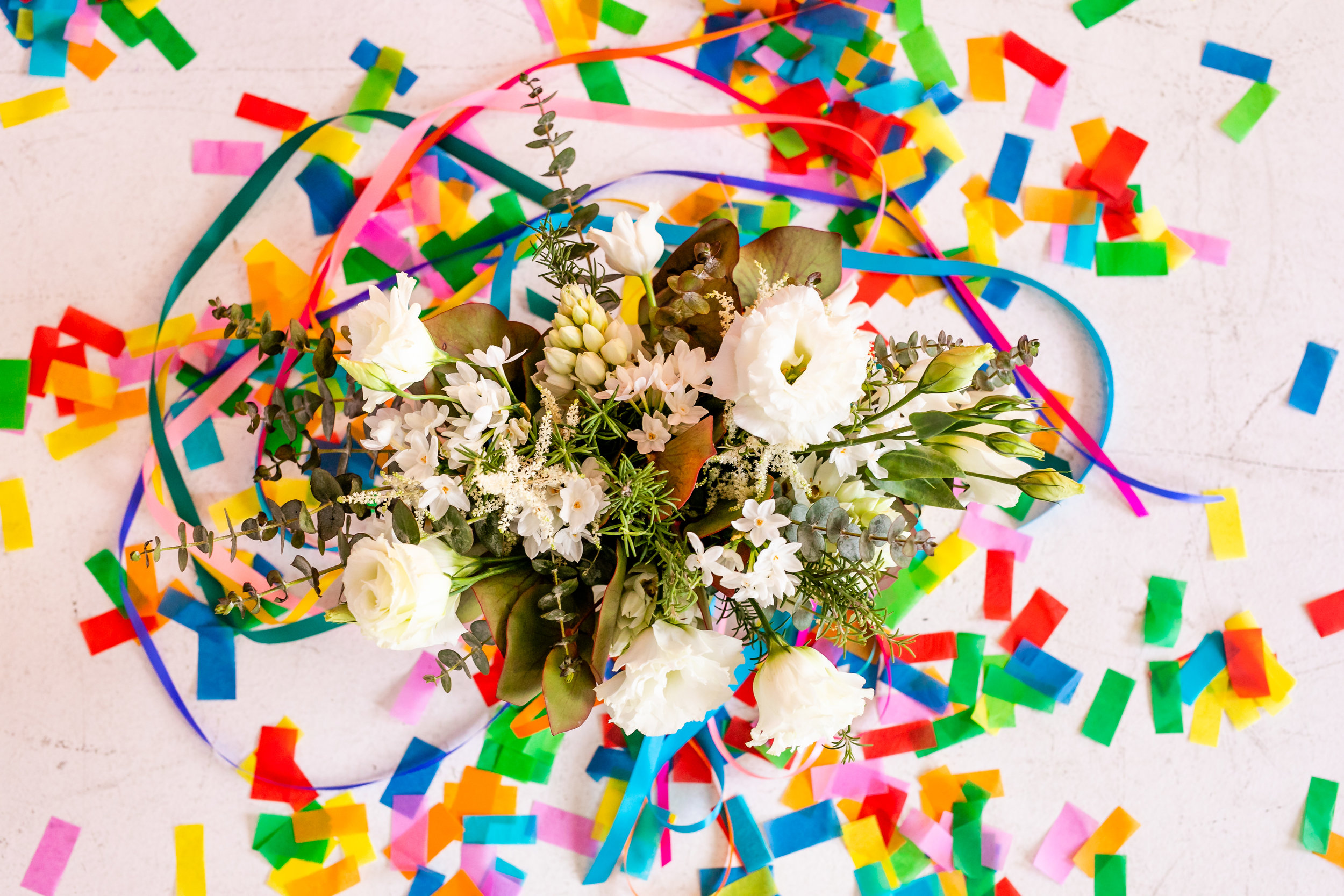 Colorful Striped Wedding Inspo - Confetti with Bouquet
