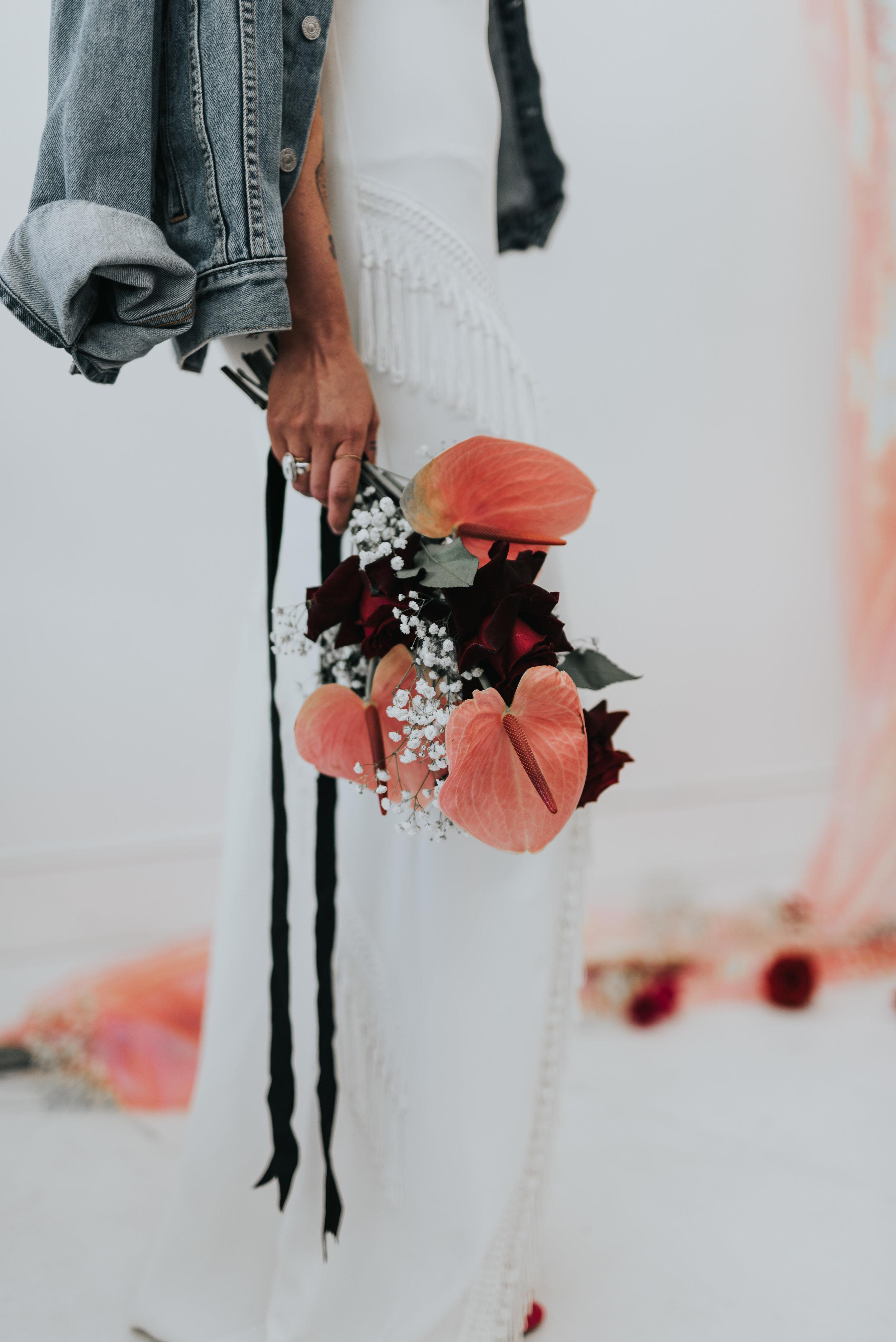 Millennial Pink Inspired Wedding - Anthurium and rose bouquet