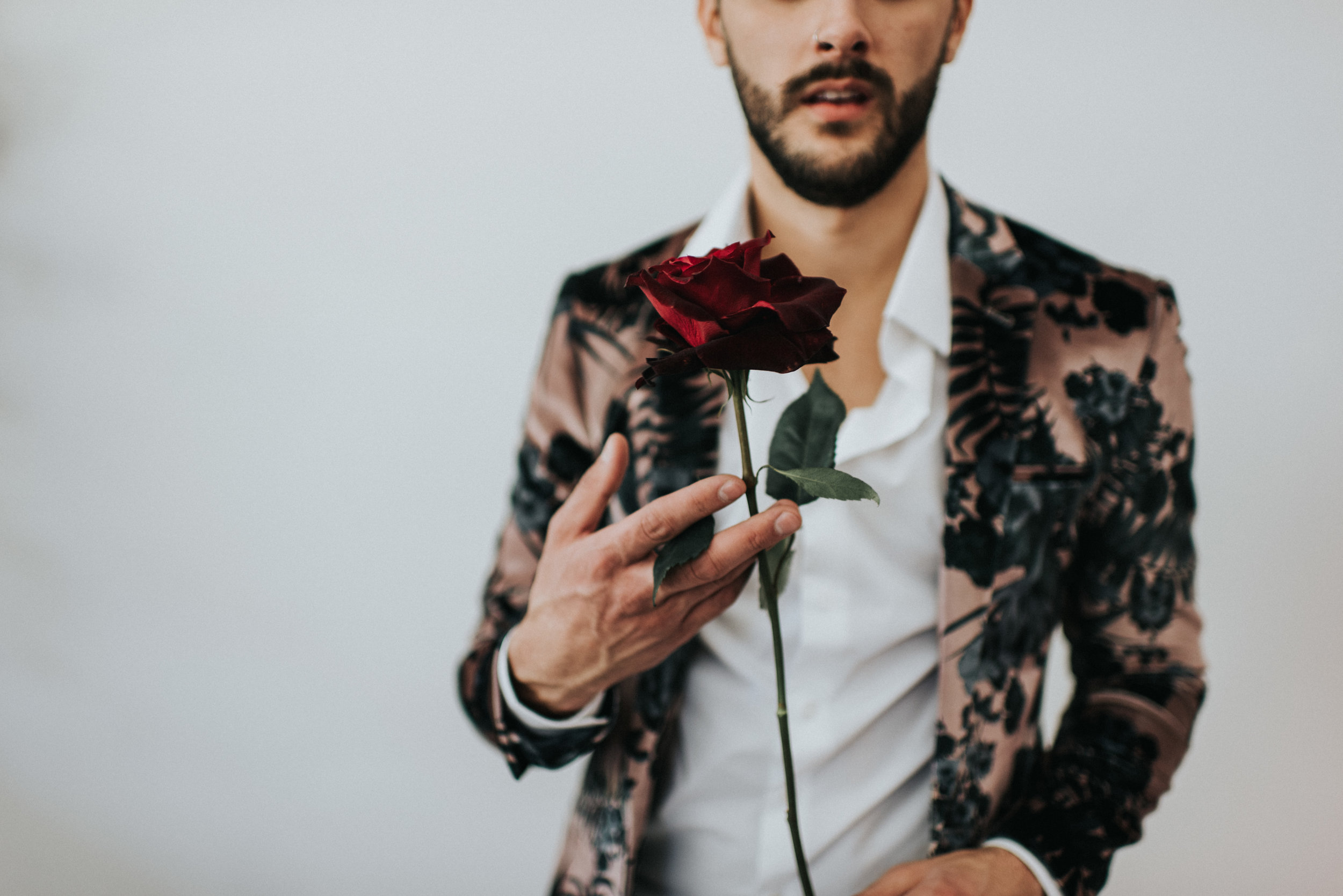 Millennial Pink Inspired Wedding - Groom in Floral Suit