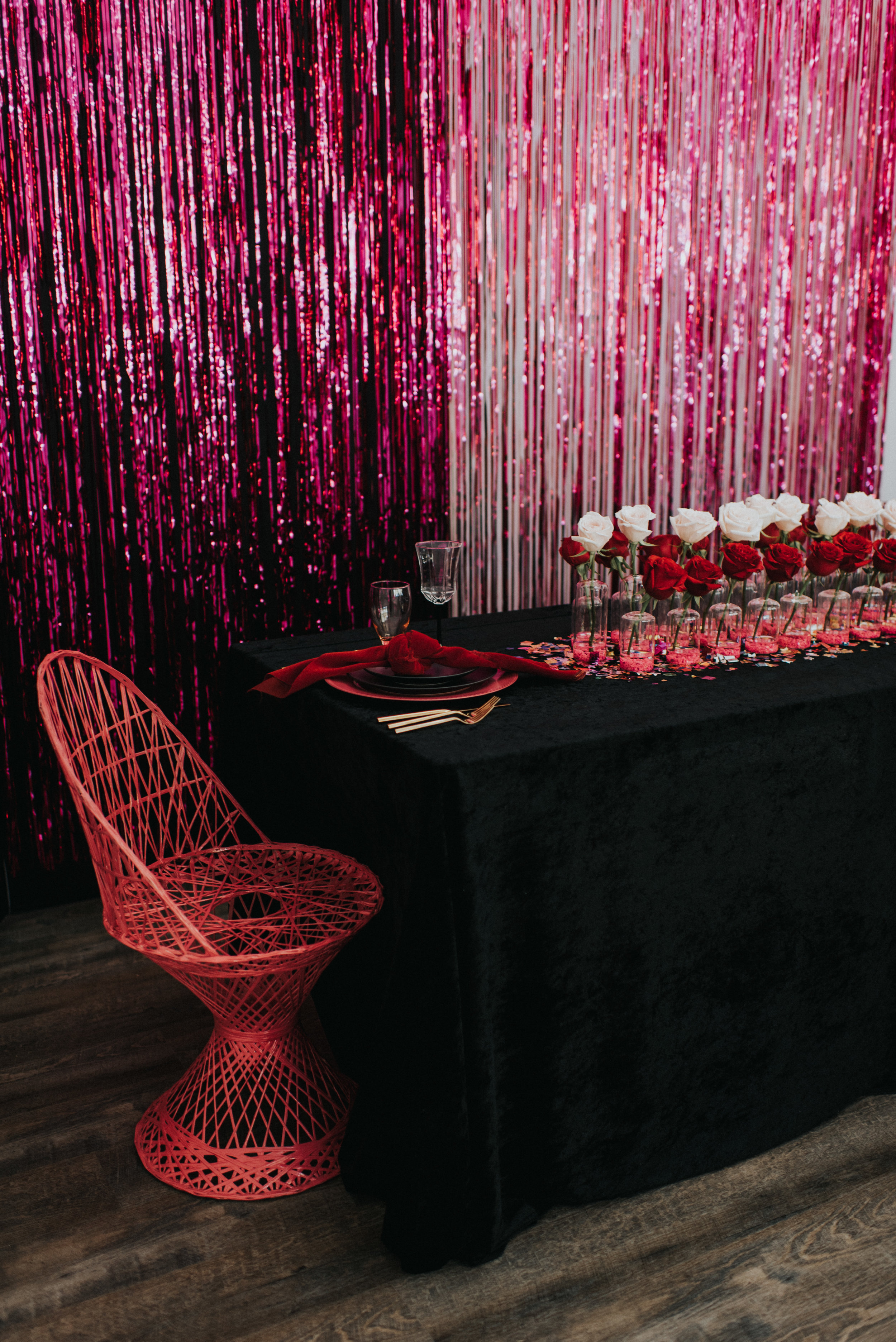 Millennial Pink Inspired Wedding - Hot Pink Sweetheart Table Backdrop