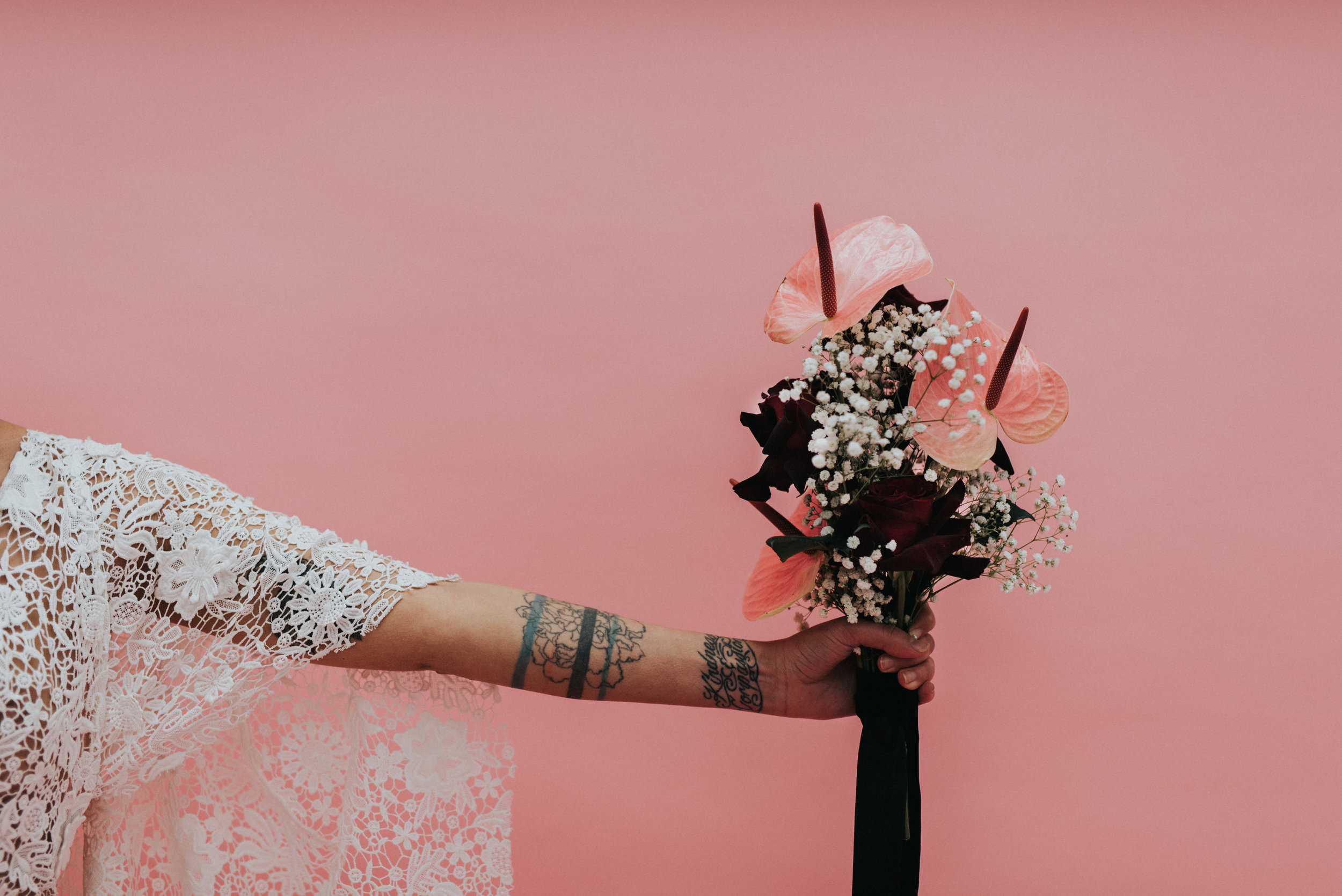 Millennial Pink Inspired Wedding - Rue de Siene Gown with 90's Style Bouquet