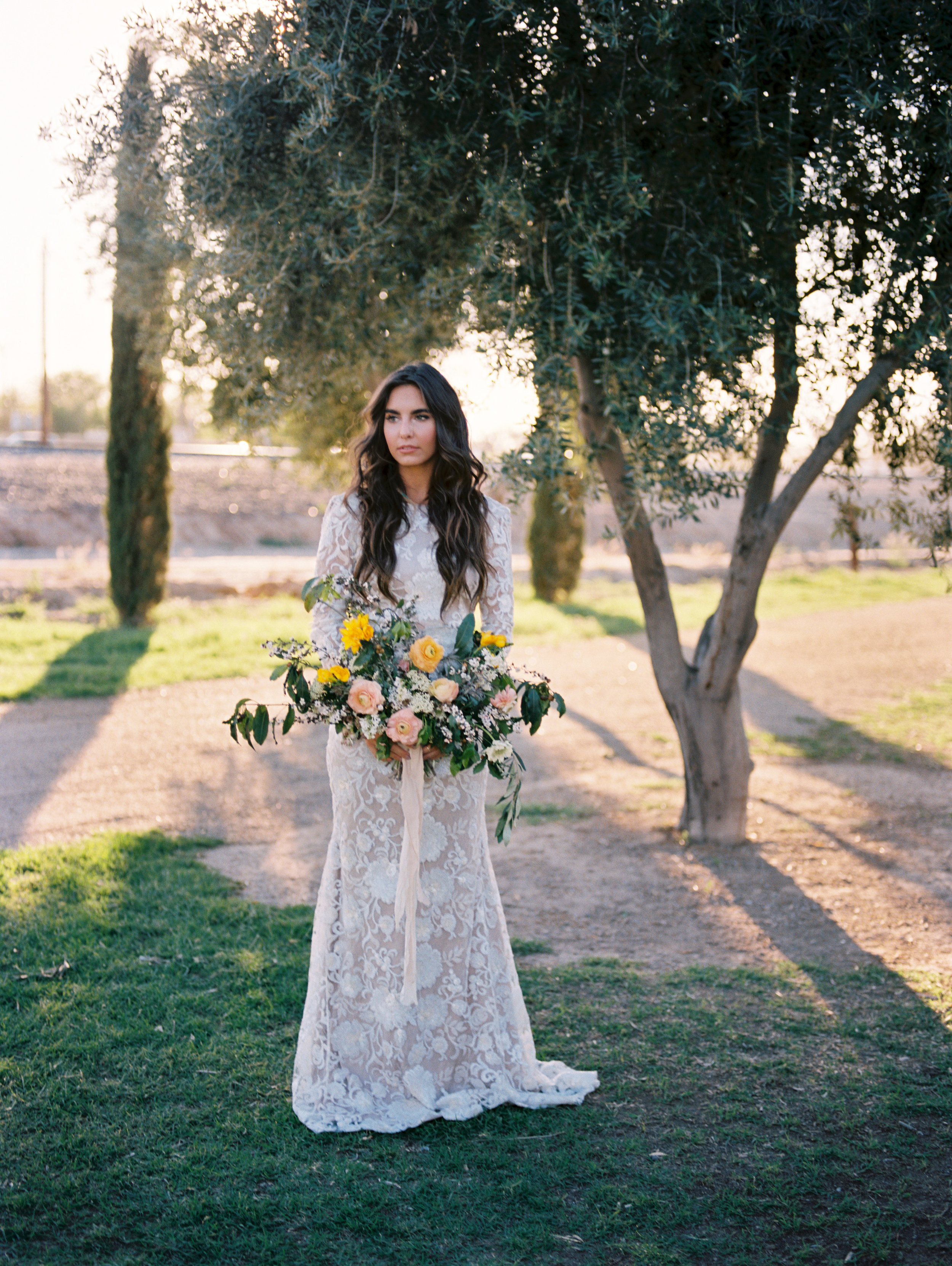 Olive Mill Wedding Inspiration - Boho Gown and wild bouquet