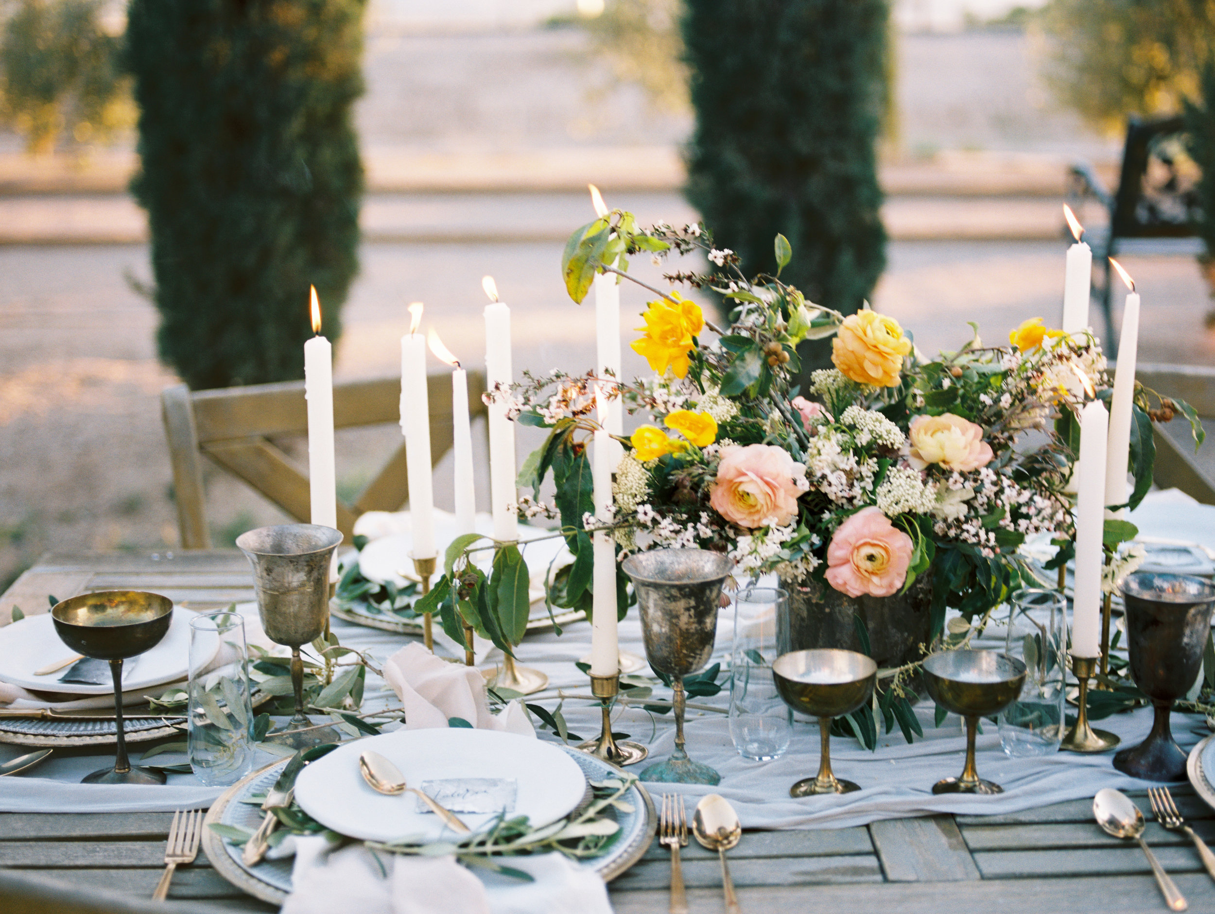 Olive Mill Wedding Inspiration - Ranunculus Centerpiece