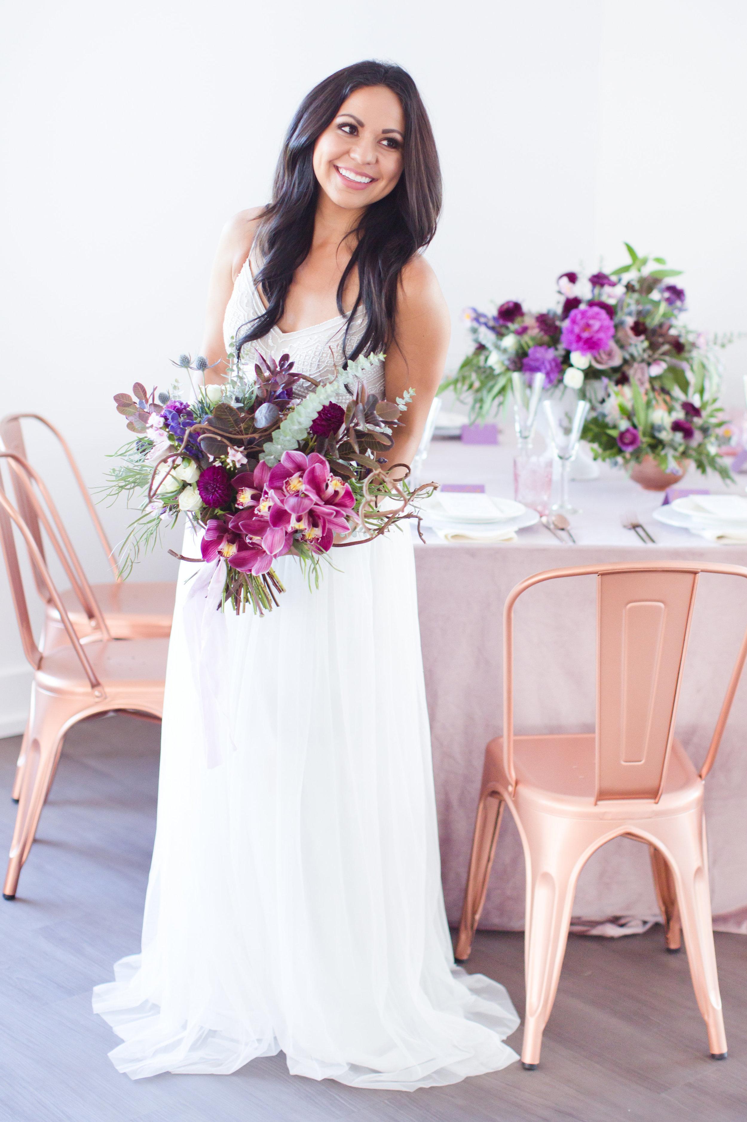 Amy & Jordan Workshop - Purple Anthropologie Inspired Wedding - Bride with purple bouquet