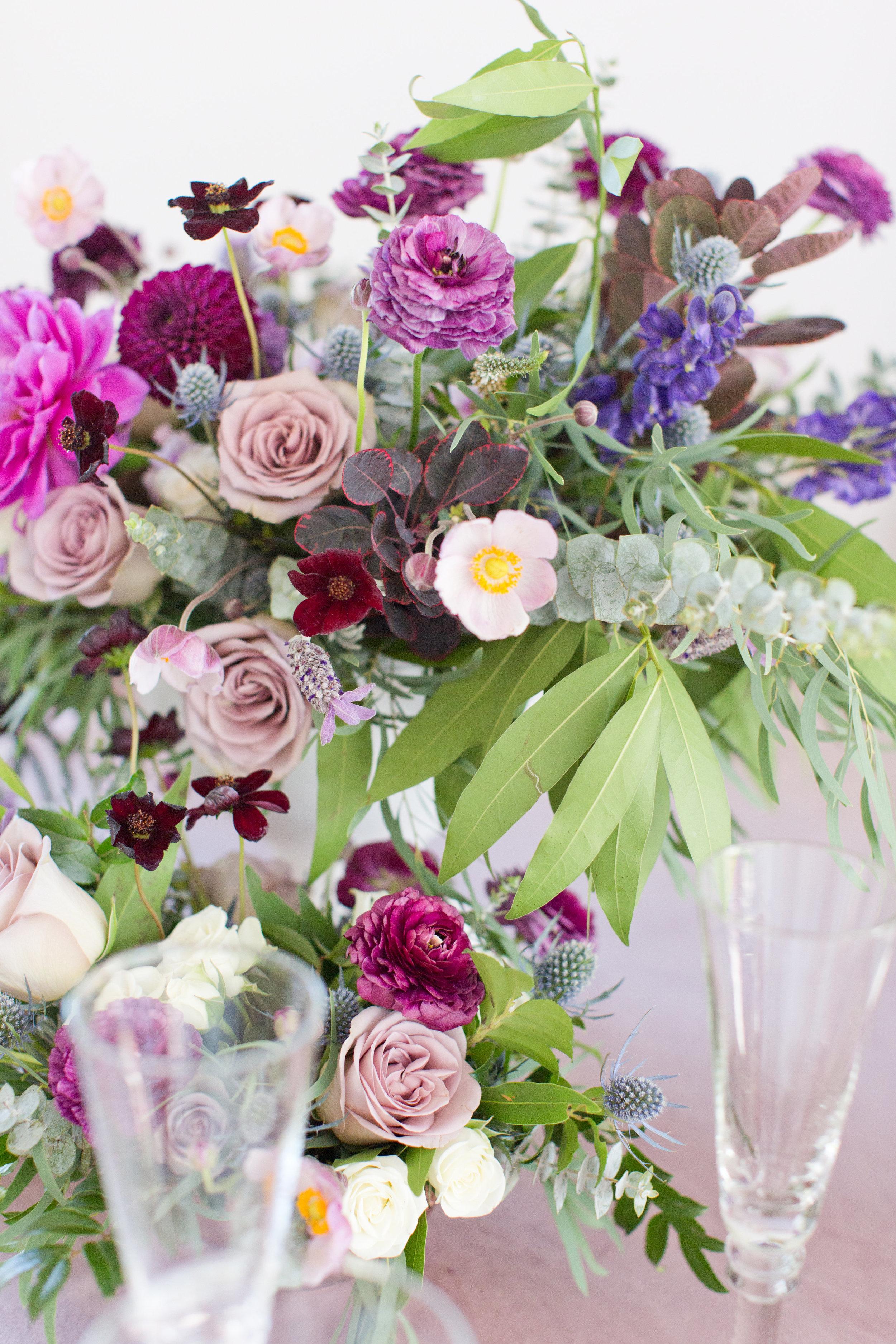 Amy & Jordan Workshop - Purple Anthropologie Inspired Wedding Centerpiece