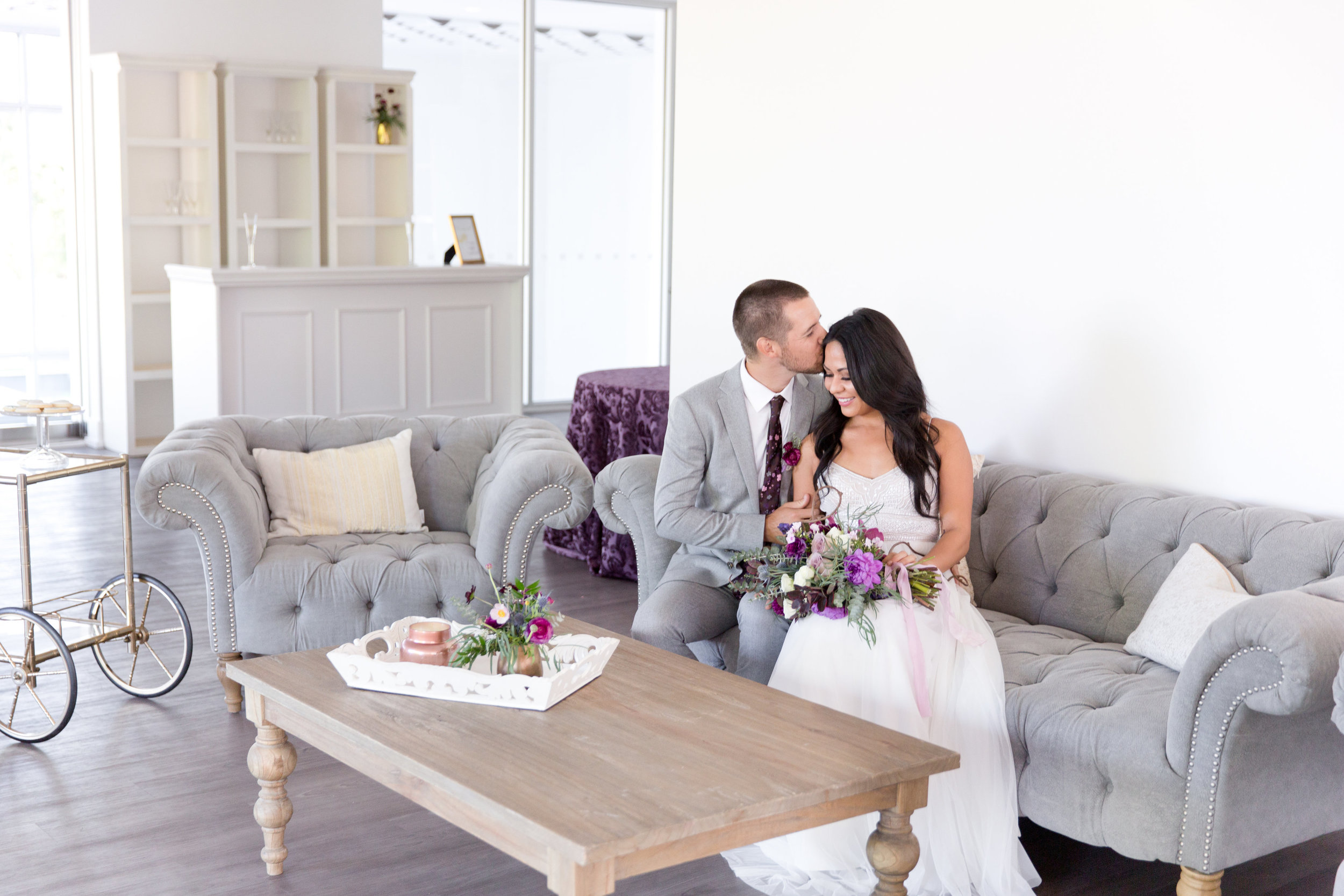 Amy & Jordan Workshop - Purple Anthropologie Inspired Wedding Lounge
