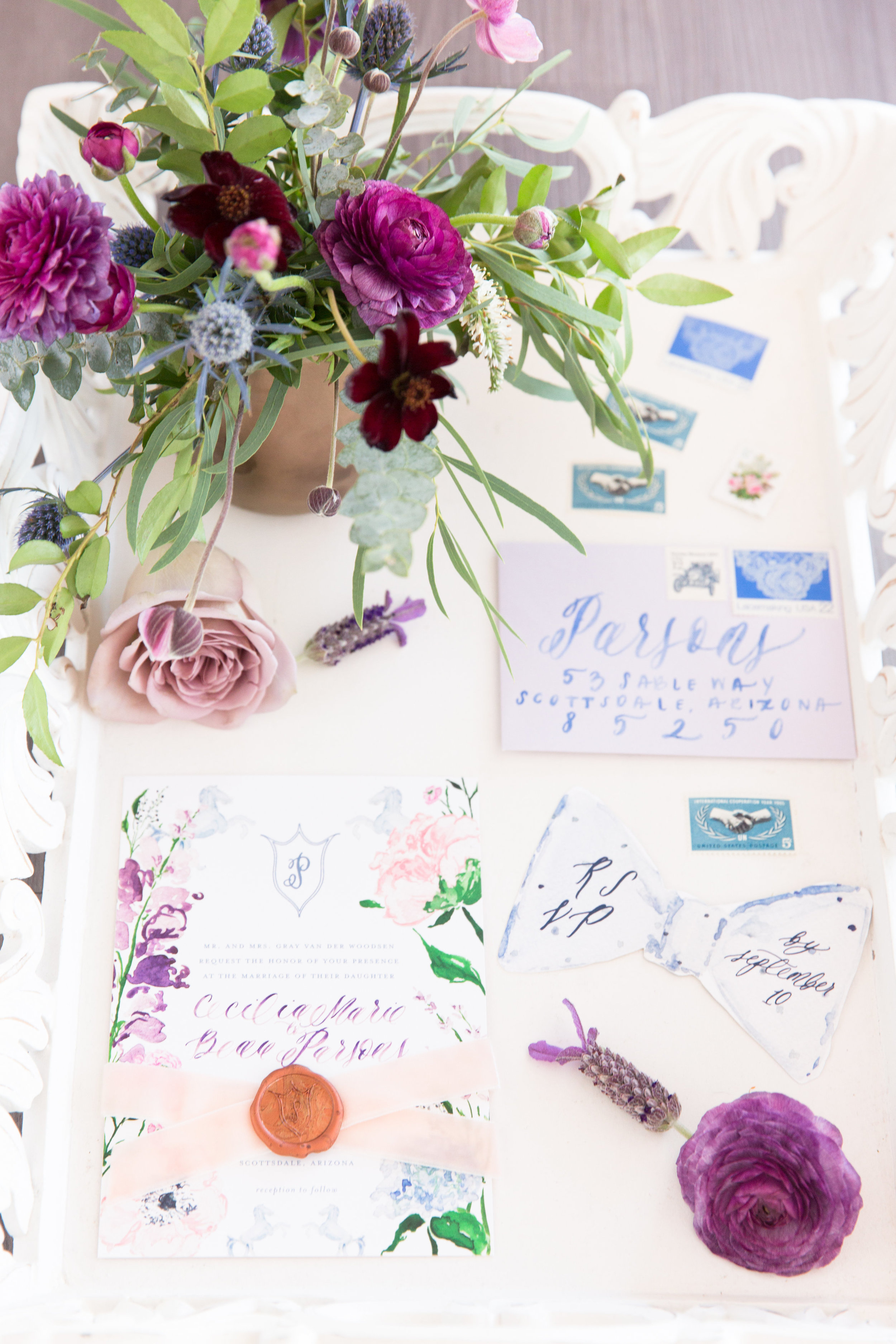 Amy & Jordan Workshop - Purple Anthropologie Inspired Wedding Invitation Suite