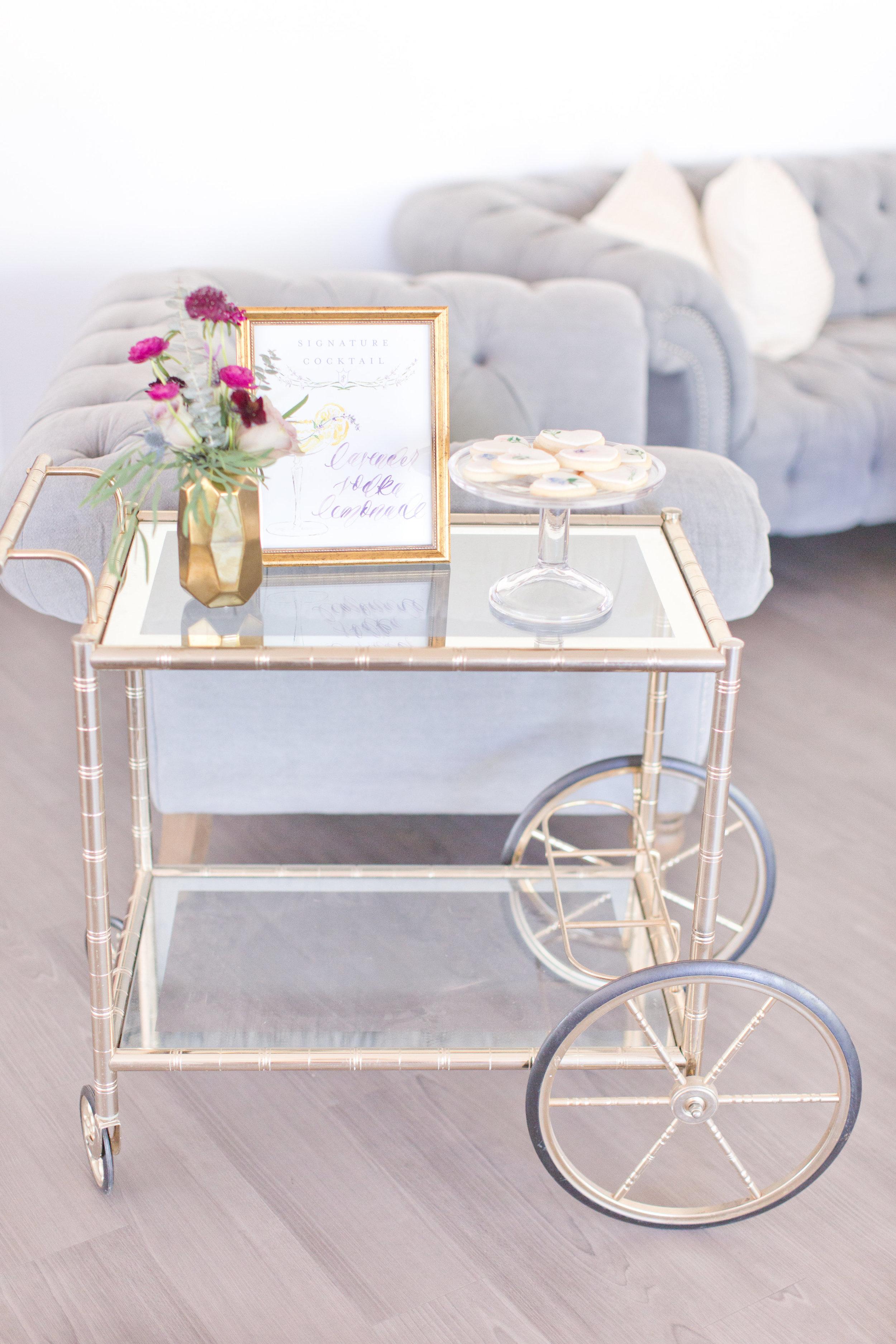 Amy & Jordan Workshop - Purple Anthropologie Inspired Wedding Lucite Bar Cart