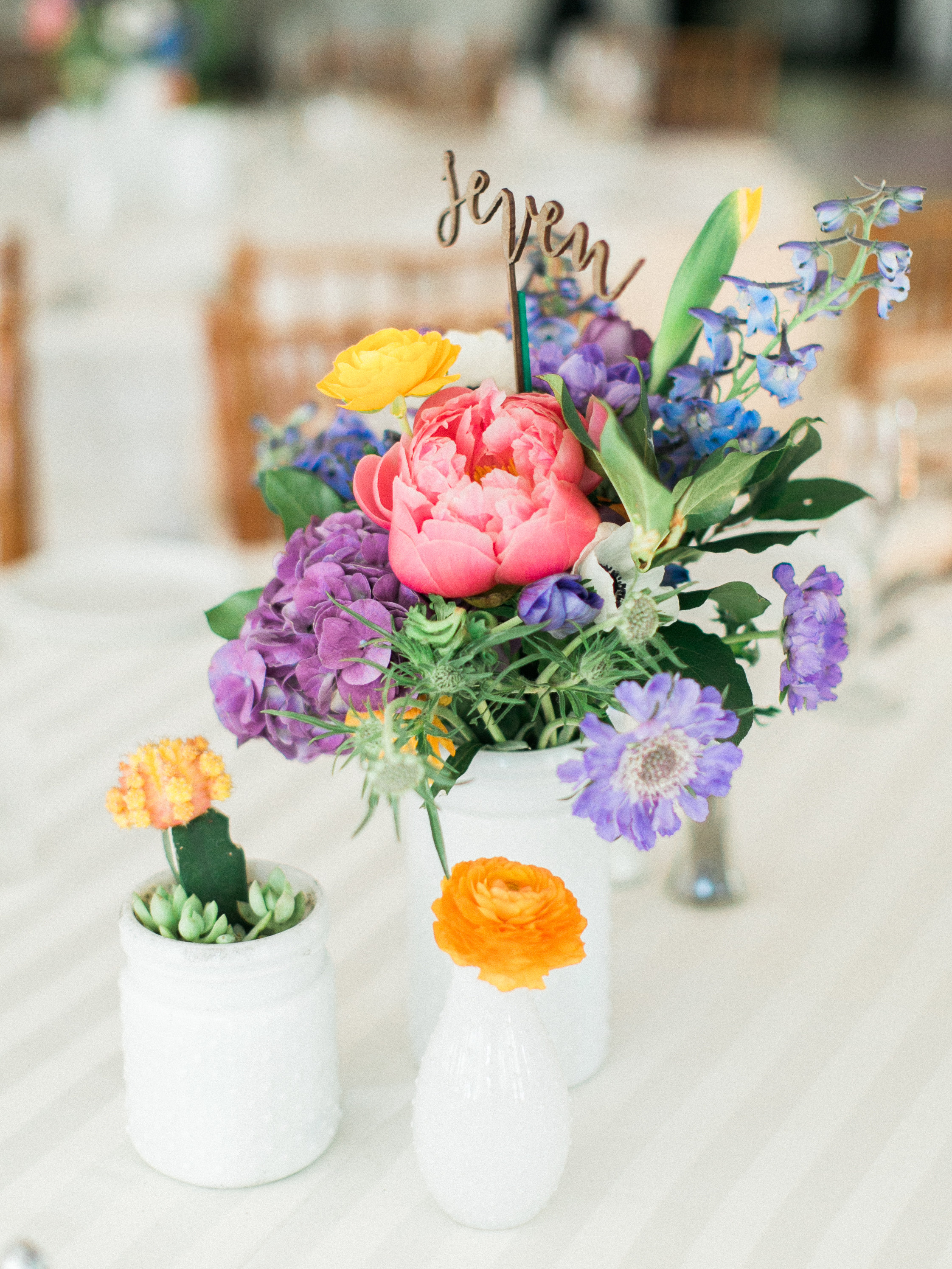 Fiesta Inspired El Chorro Wedding - Trio of colorful centerpieces