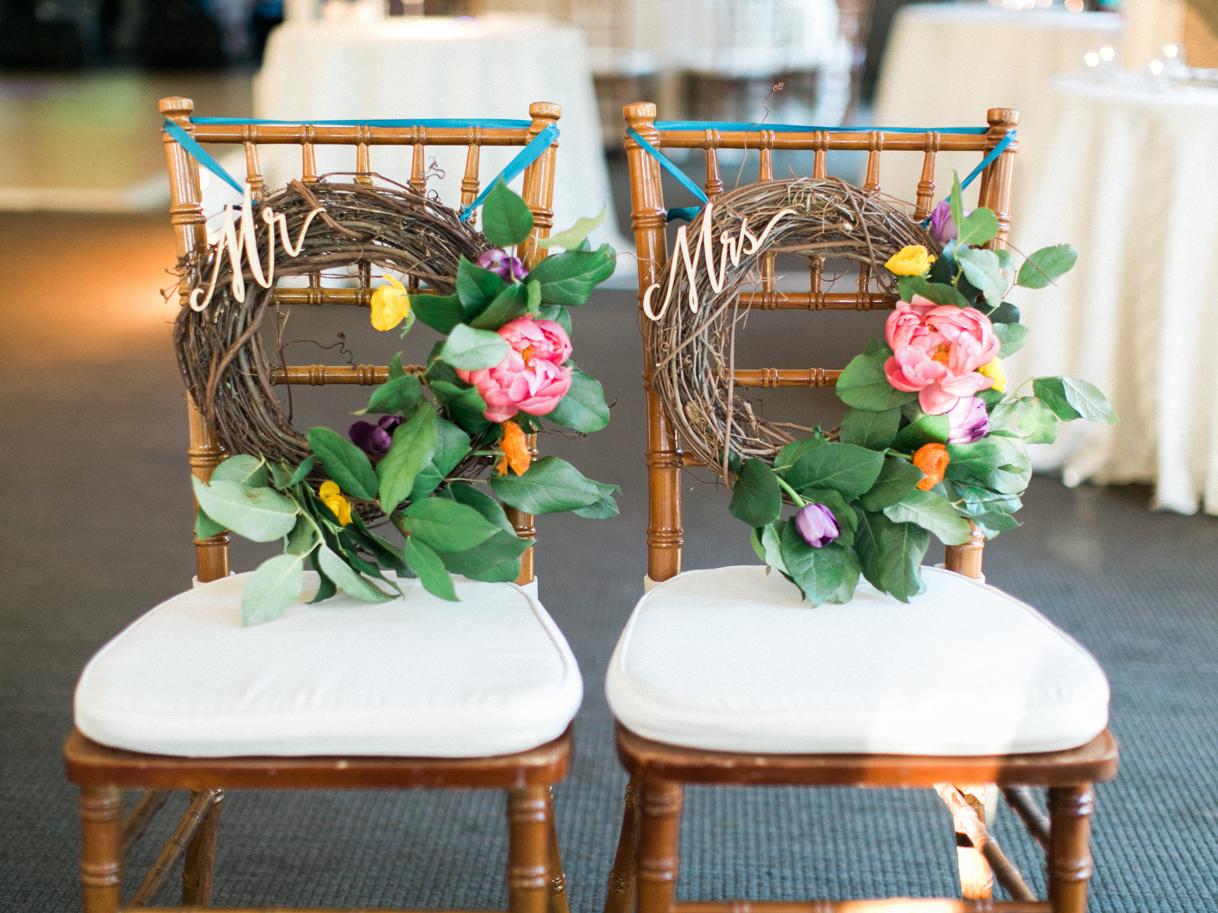 Fiesta Inspired El Chorro Wedding - Mr. and Mrs. Chair Markers