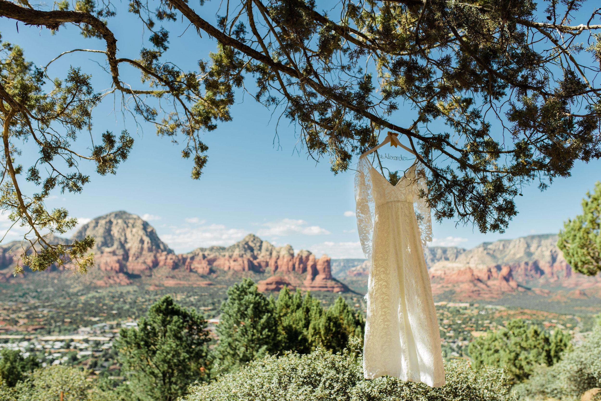 Boho Sedona Wedding - Lace Gown