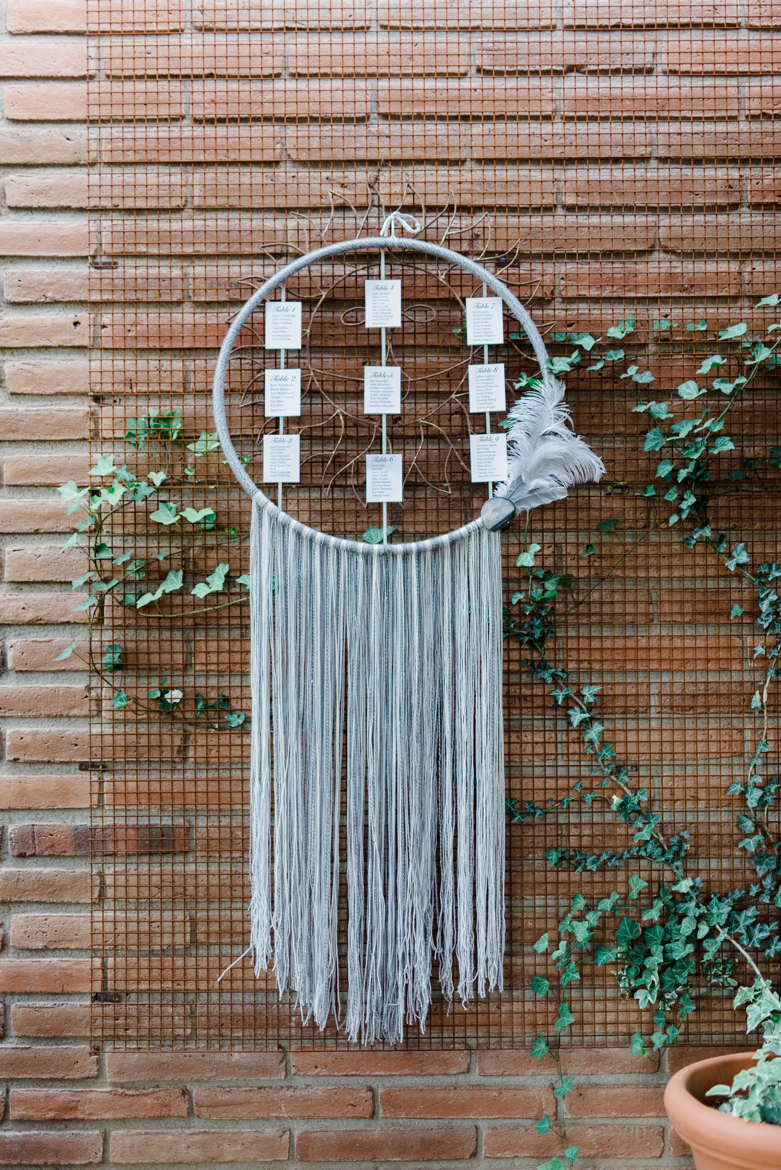 Boho Sedona Wedding - Dreamcatcher Escort Card Display