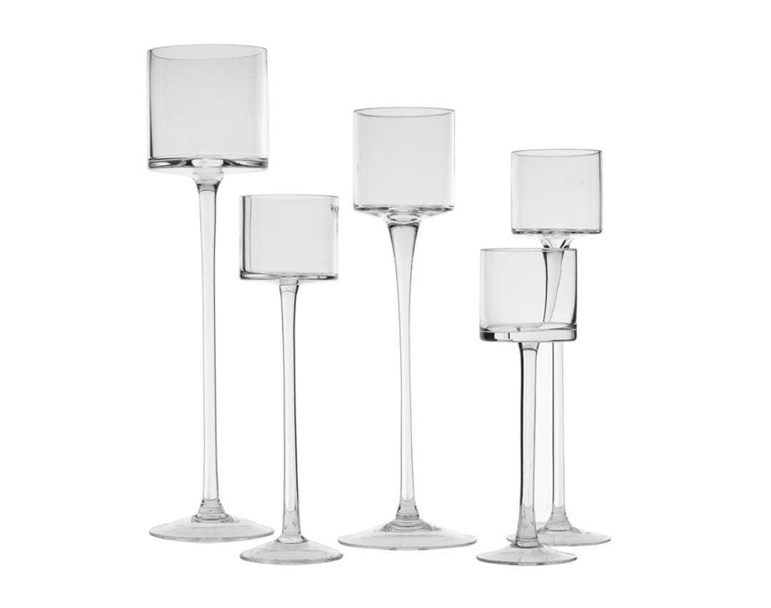 "Stemmed Glass Cylinders Three Sizes 3.5"" x 11"" 3.5"" x 13"" 3.5"" x 15"""