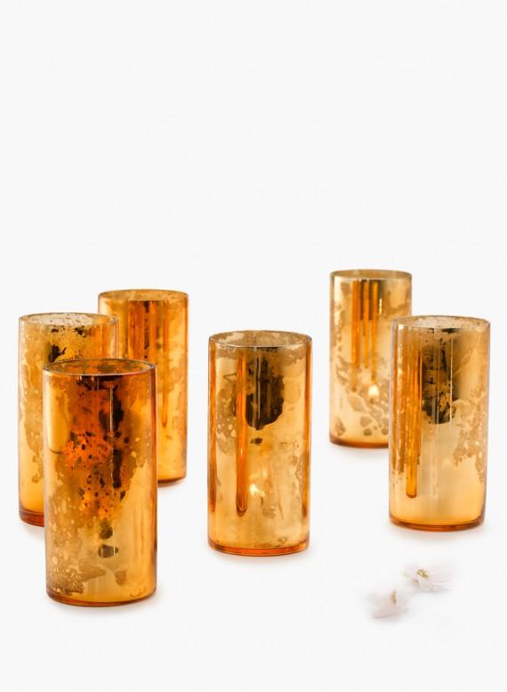 "Antiqued Mercury Glass Votives Two Sizes 2"" x 4"" 3.5"" x 6"""