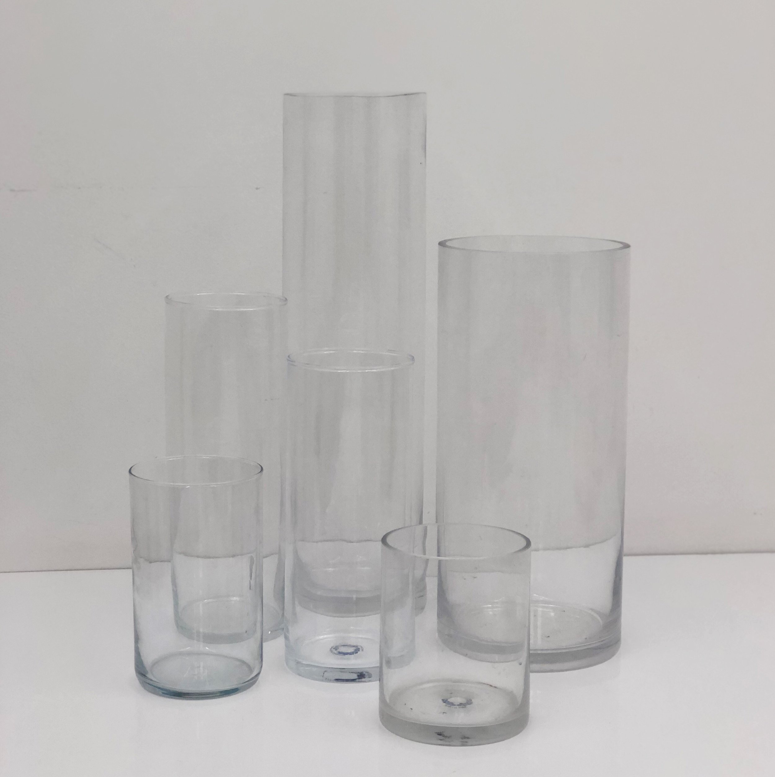 "Glass Cylinders Range in height from 4"" - 20"""