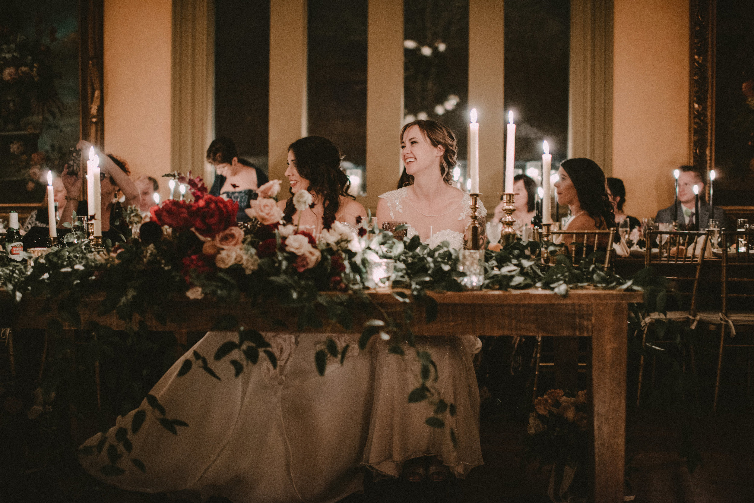 Moody Upstate New York Wedding - Reception in Burgundy and Blush