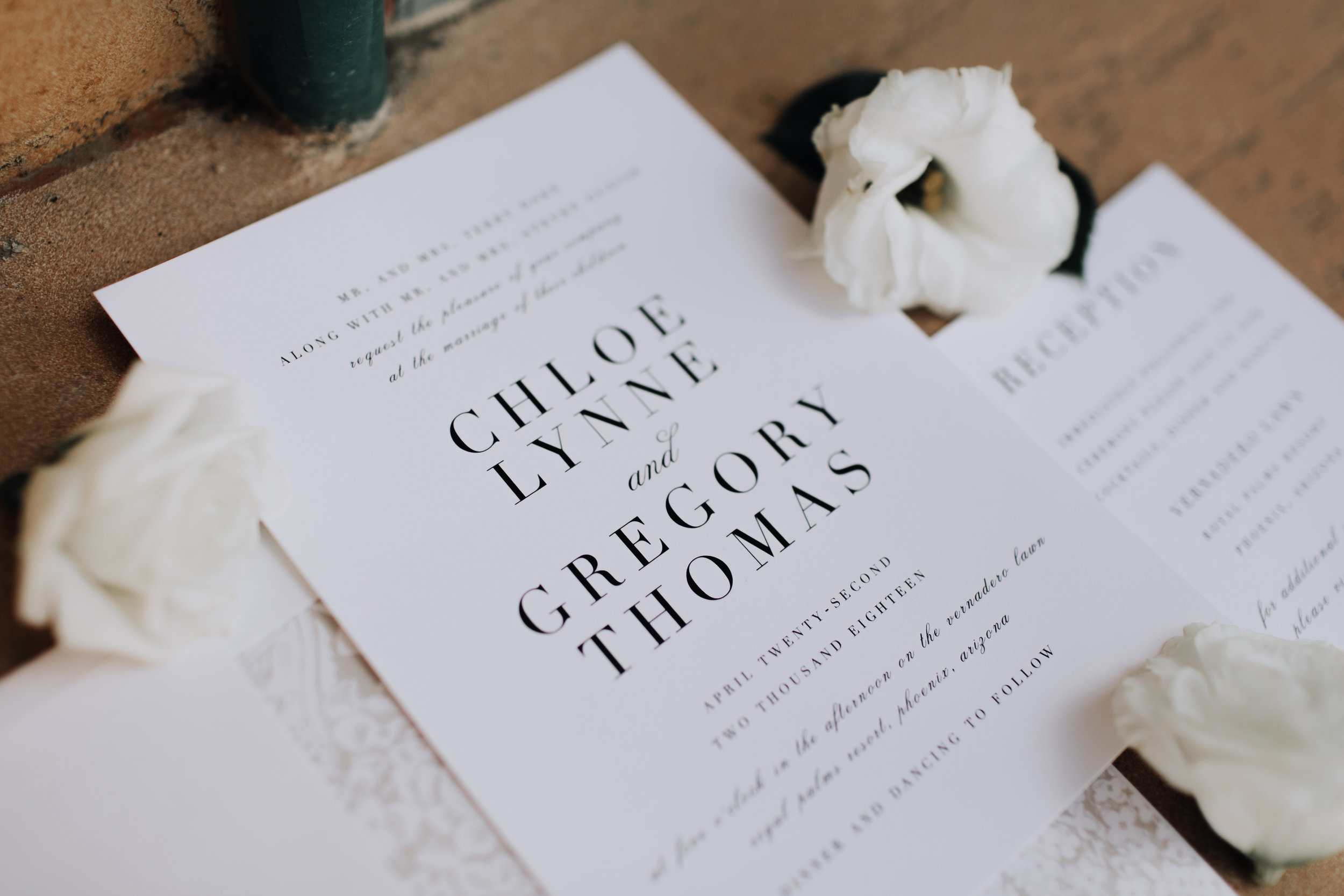 Modern, Minimal Black and White Wedding Invitation Suite