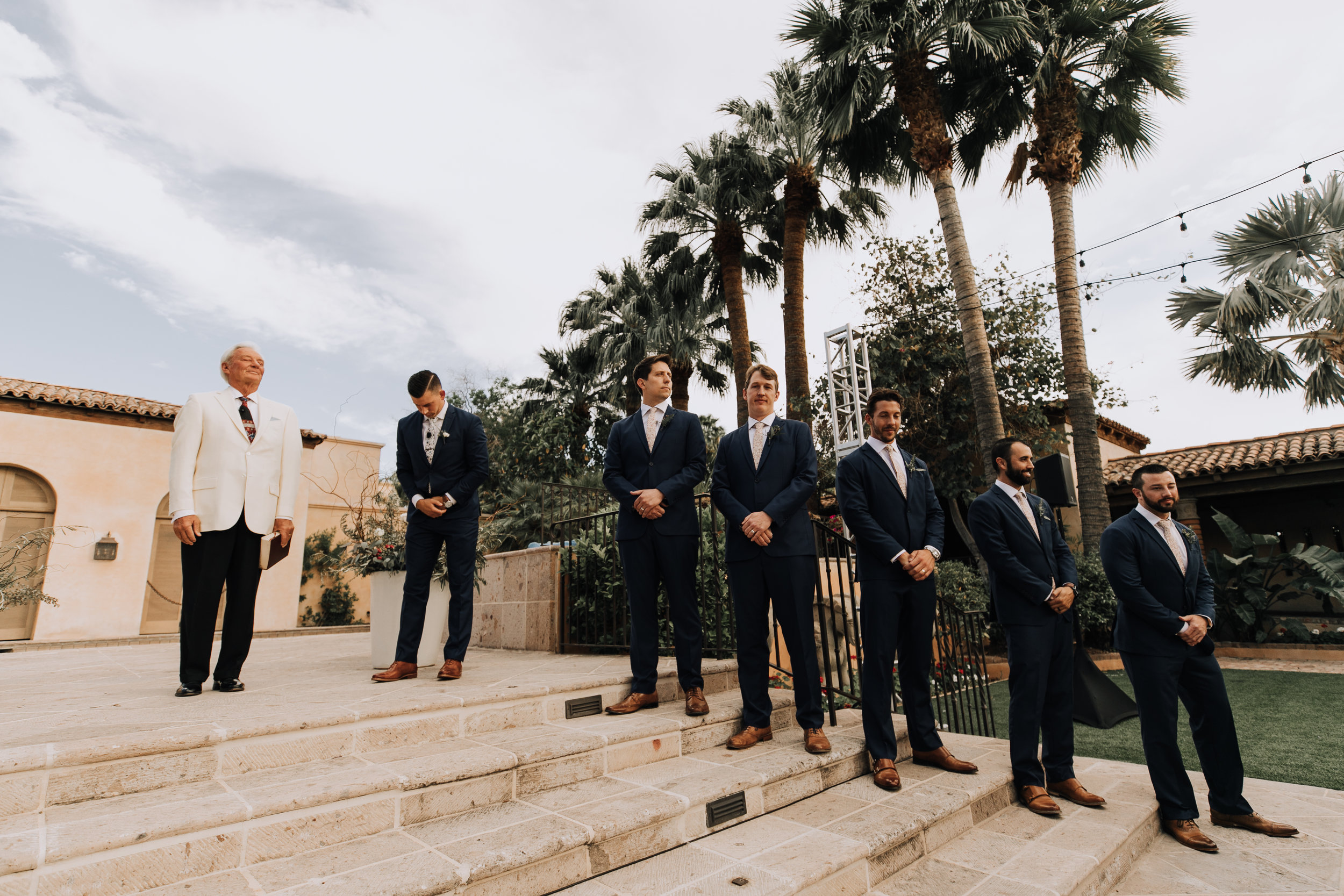 Groom and groomsmen at Ceremony