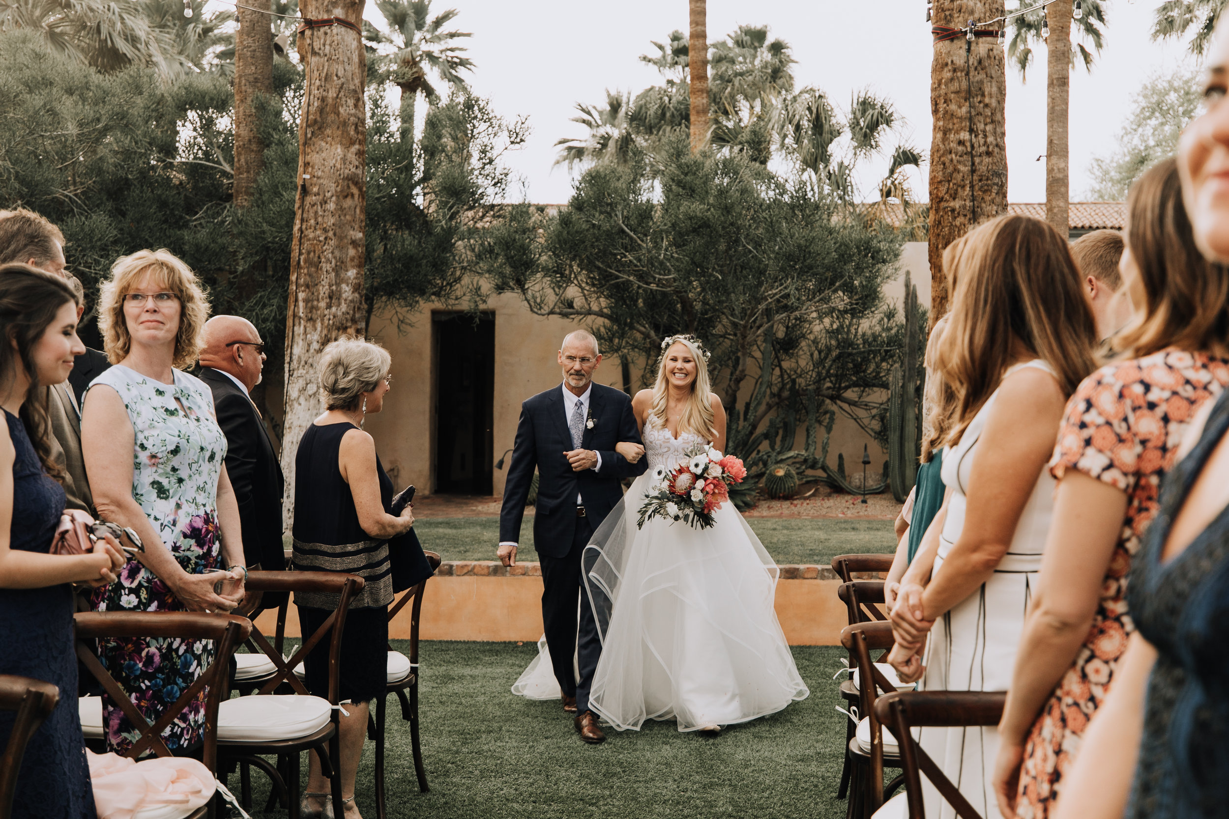 Bride with Peony Bouquet at Arizona Royal Palms Wedding