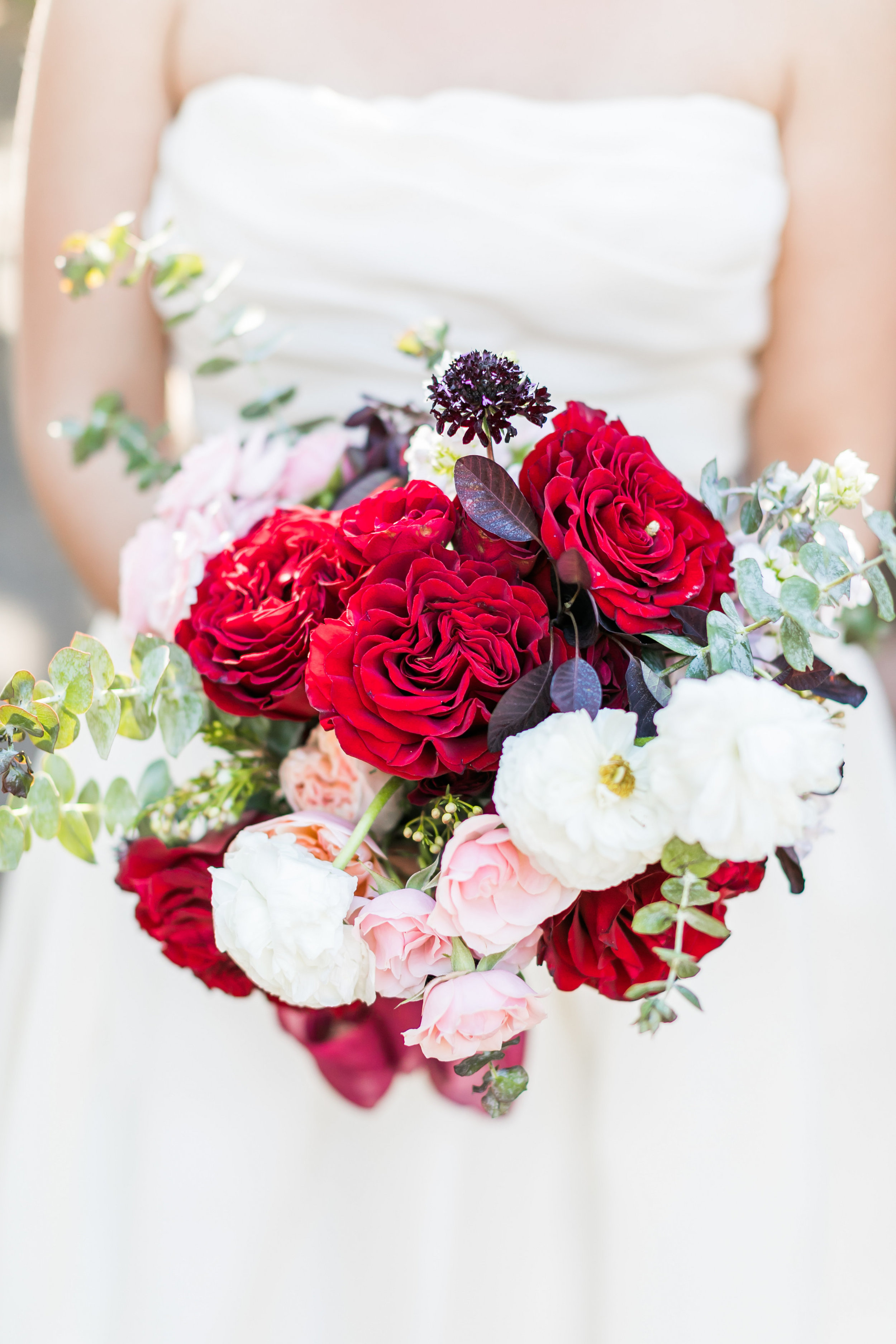 Burgundy, Red, and Blush Bridal Bouquet