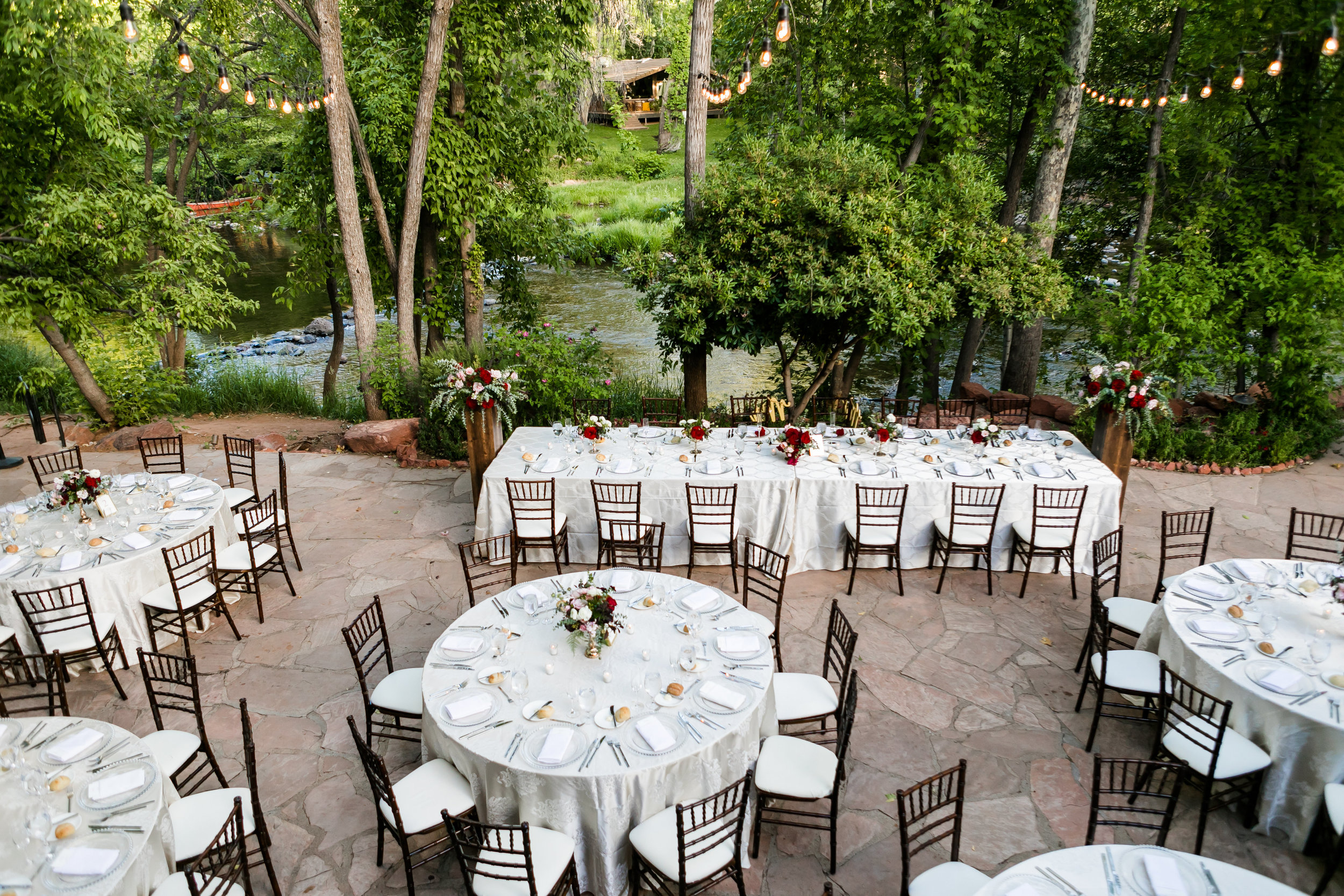 Burgundy and Blush Wedding at L'Auberge de Sedona - Wedding Reception with Round and Rectangular Tables