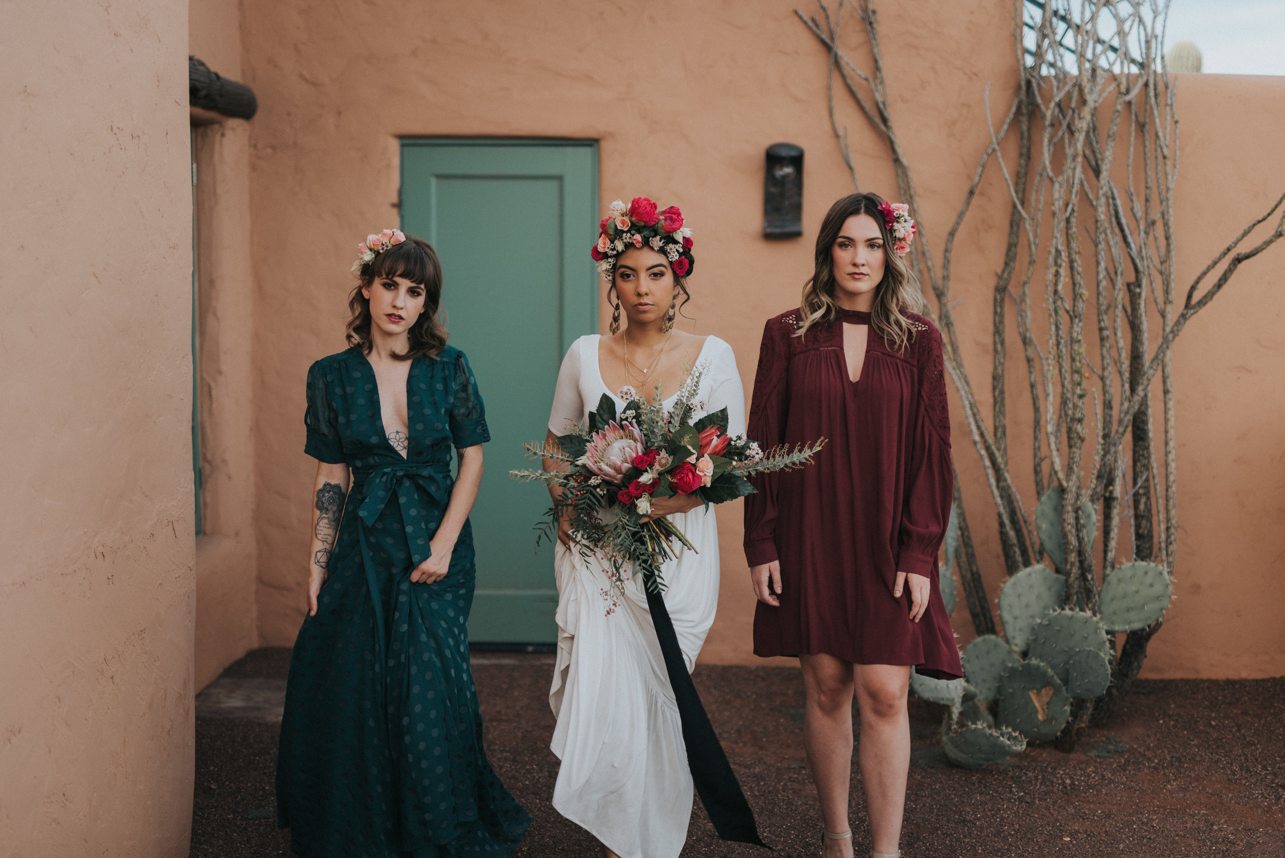 Frida Kahlo Inspired Wedding - Bride with flower crown and bridesmaids in mismatched dresses