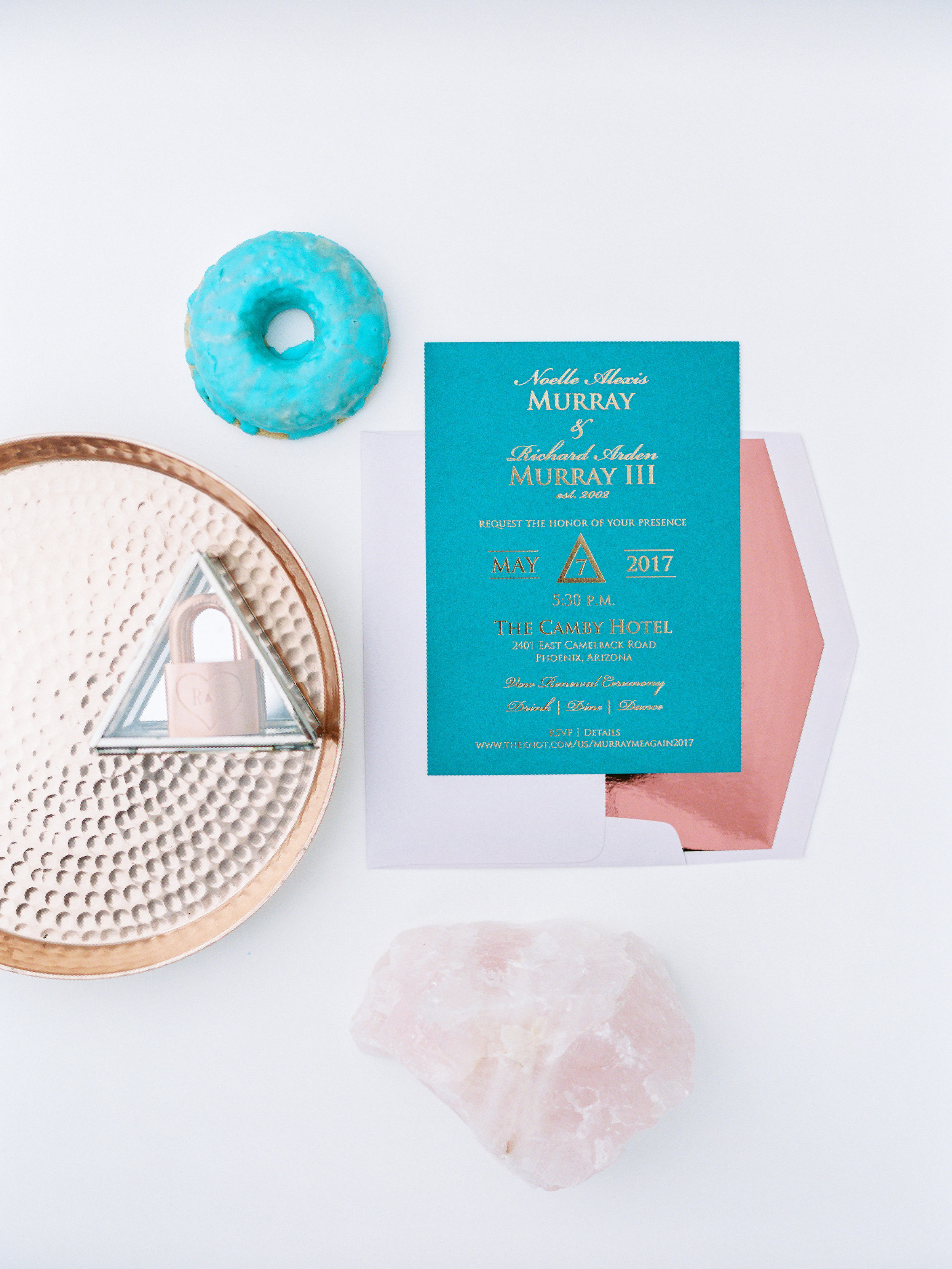 Teal and Metallic Invitation Suite