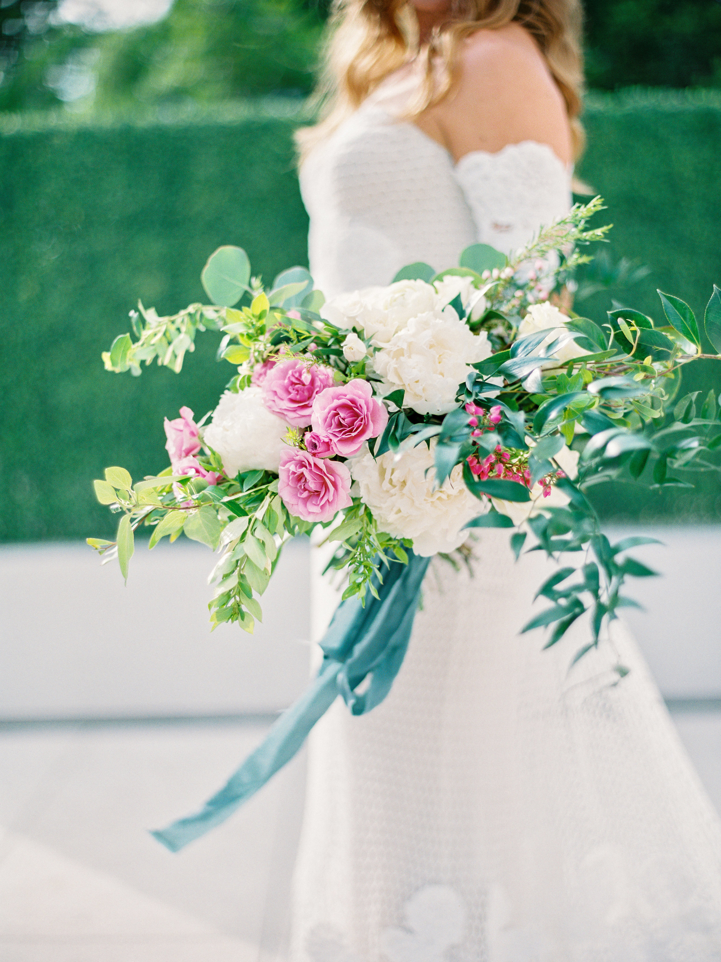 Noelle + Rich's Camby Vow Renewal - Bridal Bouquet with Peonies, spray roses, and wild greenery