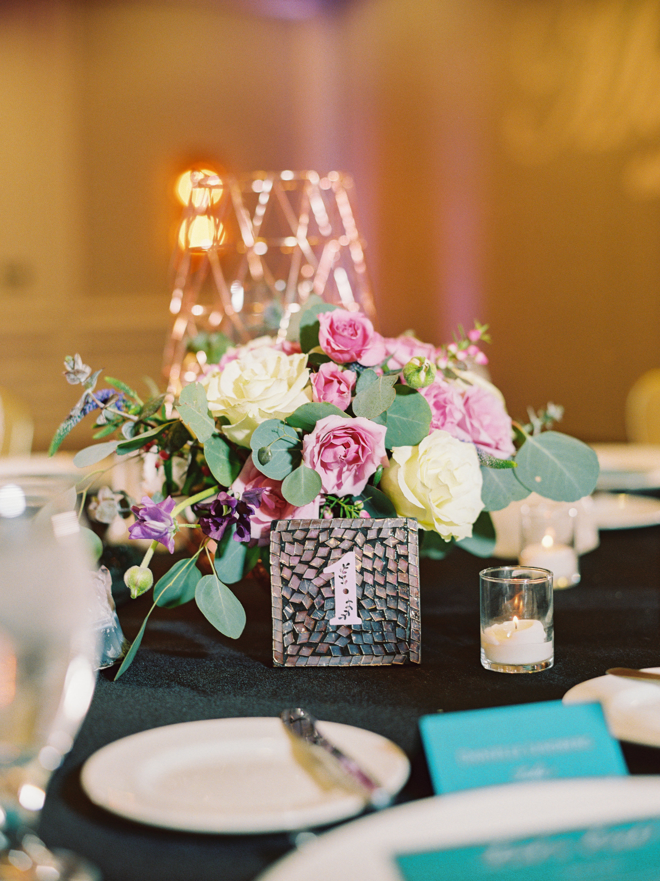Noelle + Rich's Camby Vow Renewal - Centerpieces for teal and pink reception