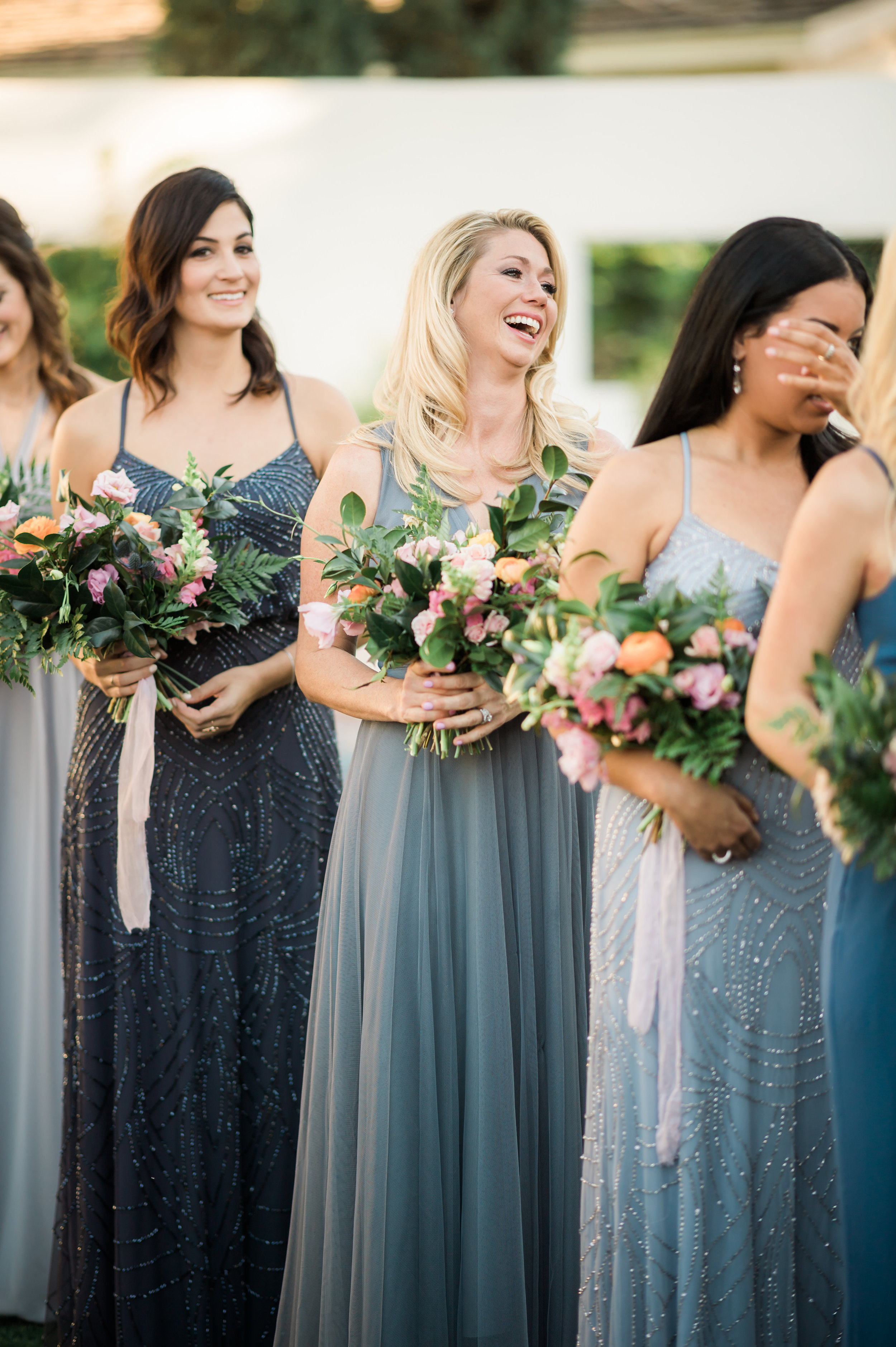 Private Estate Wedding in Phoenix - Bridesmaids in Shades of Blue Dresses