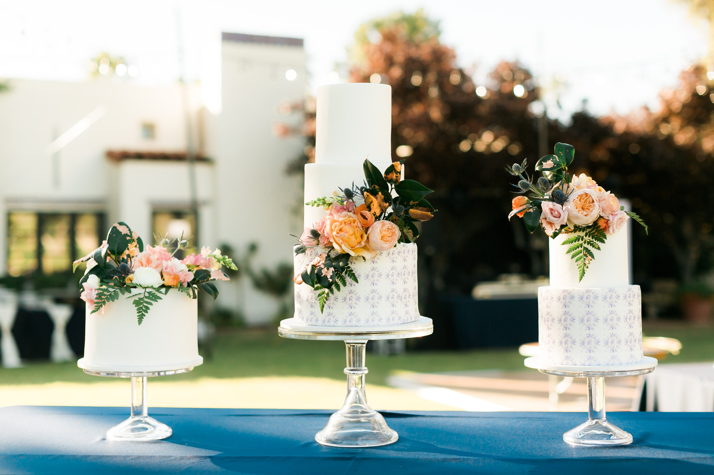 Private Estate Wedding in Phoenix - Wedding Cakes with Custom Pattern