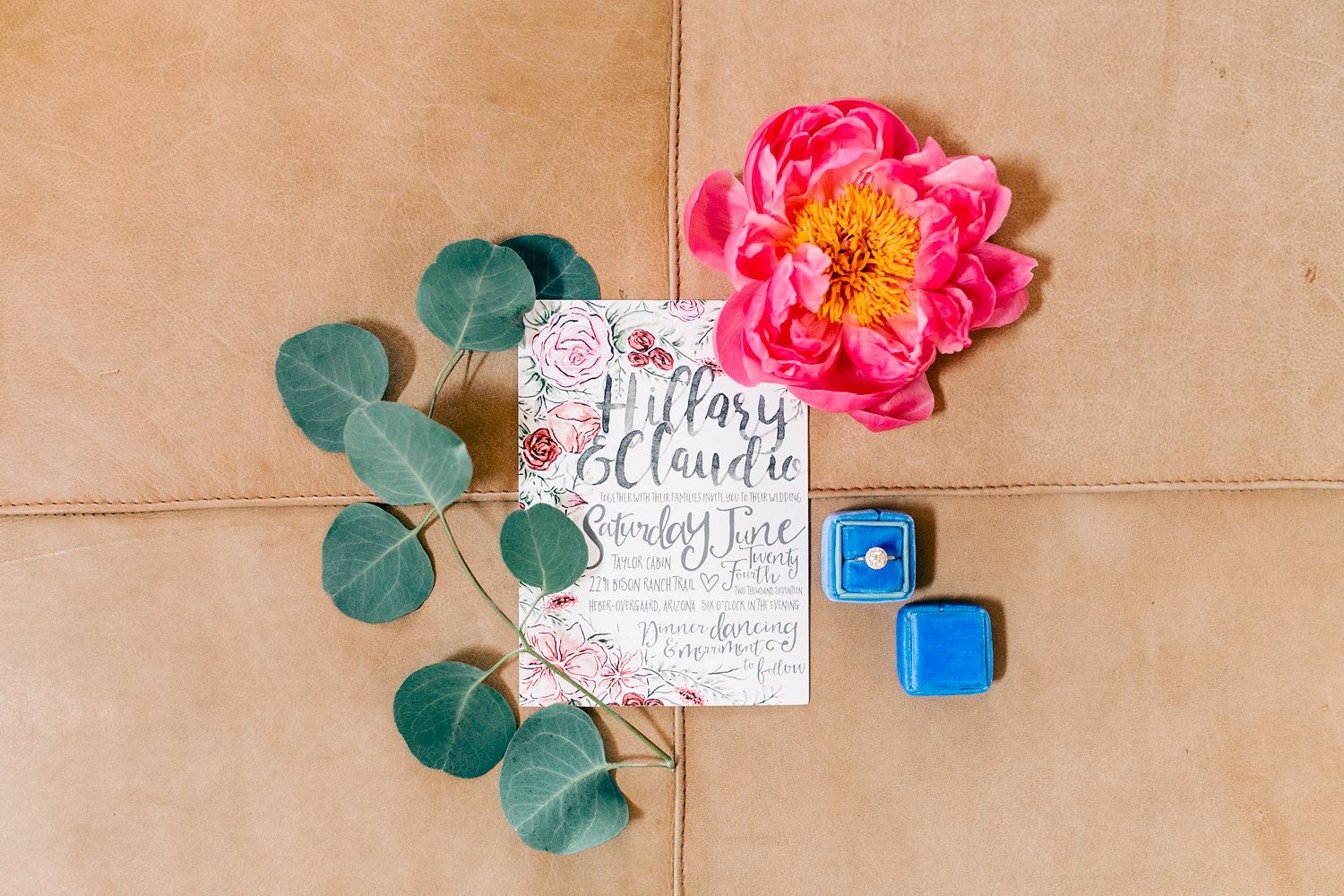 Colorful Cabin Wedding - Calligraphy Watercolor Invitations