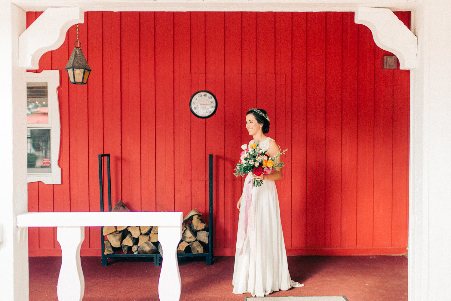 Colorful Cabin Wedding - First Look