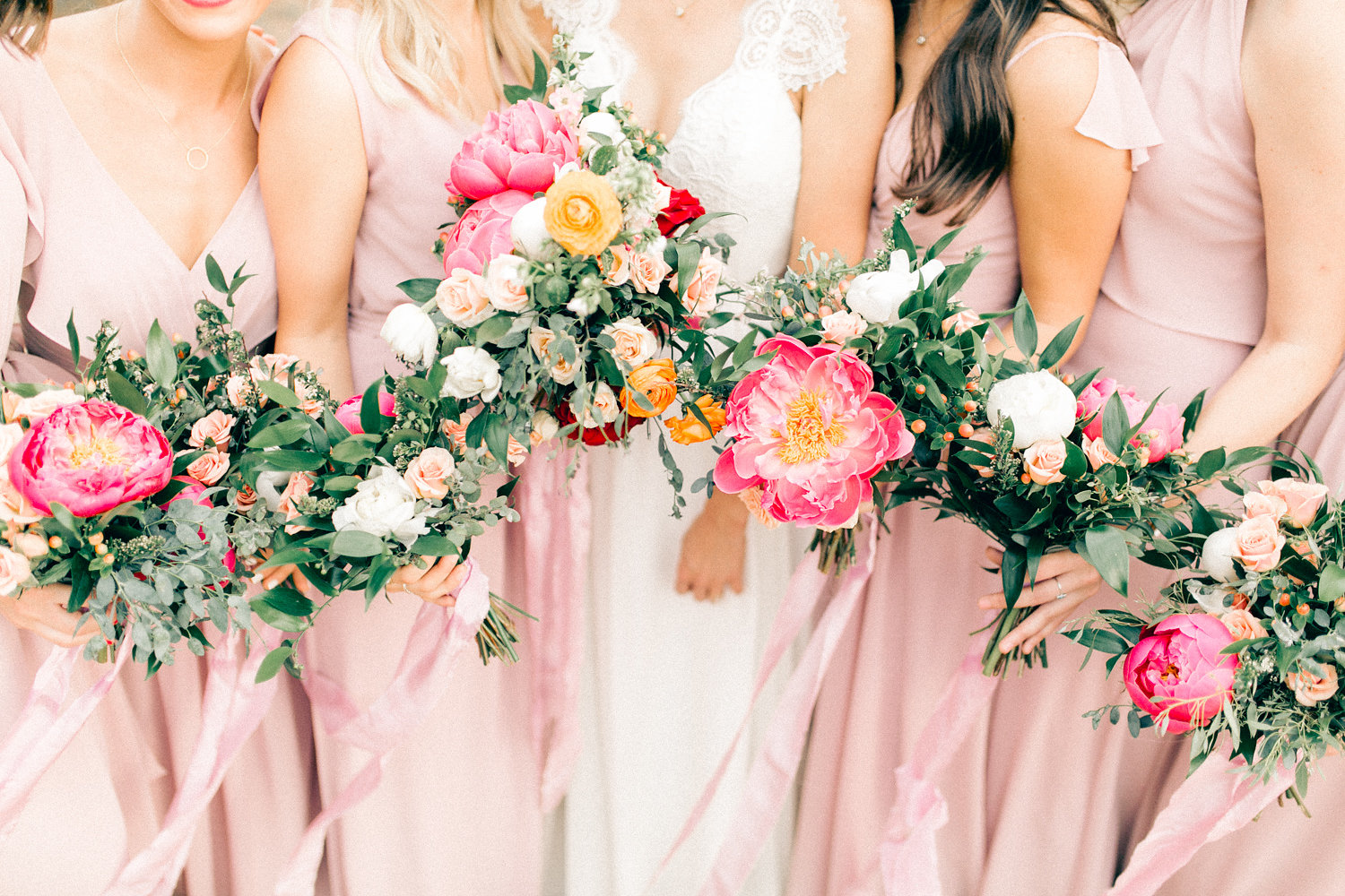 Colorful Cabin Wedding - Bridesmaids in Blush Gowns with Peony and Eucalyptus Bouquets