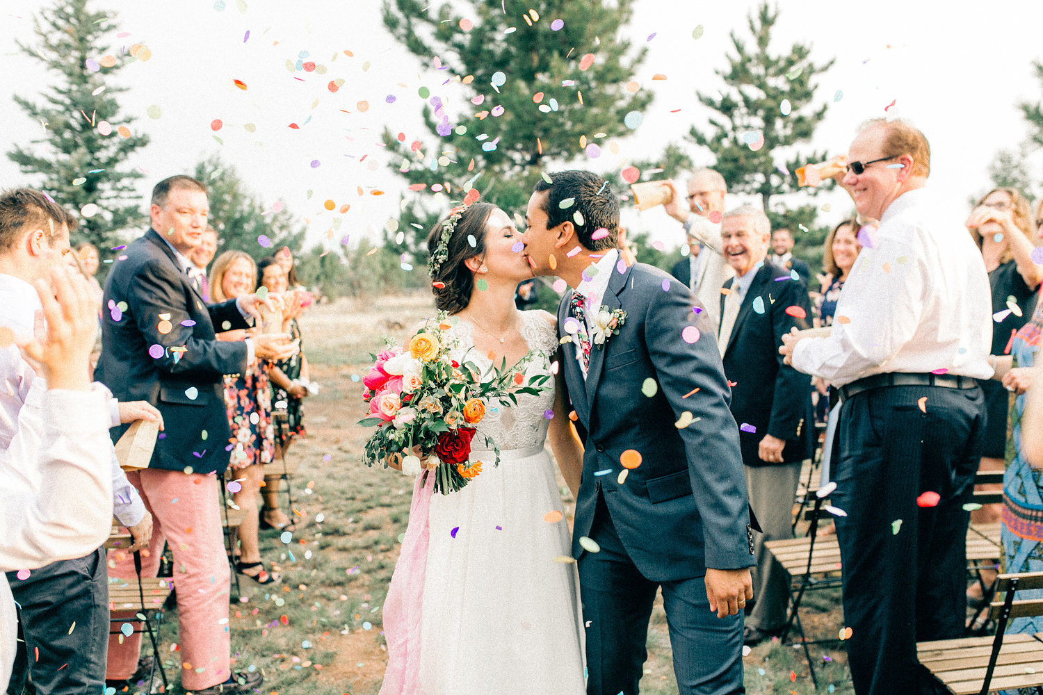 Colorful Cabin Wedding - Confetti Exit