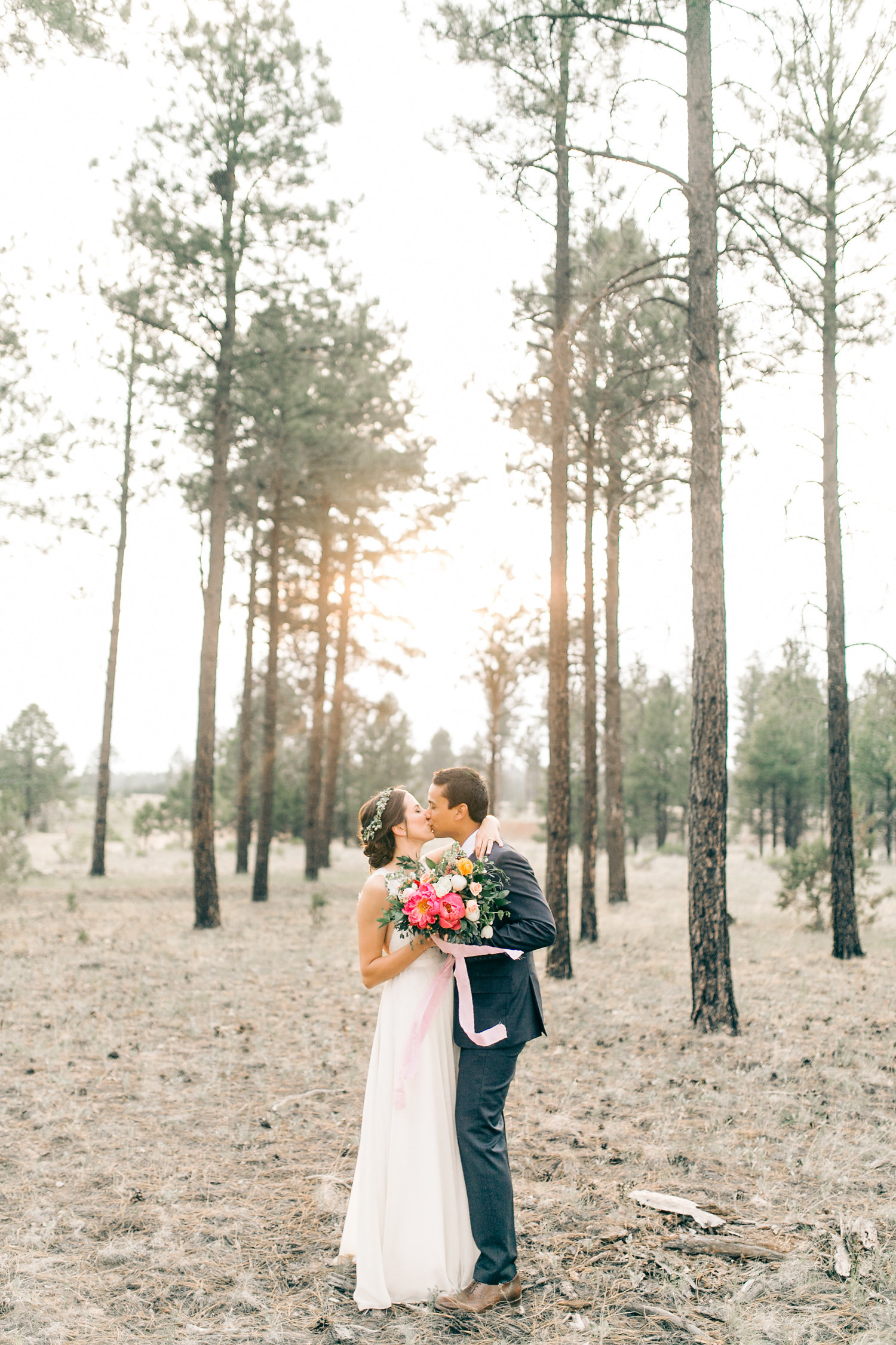 Colorful Cabin Wedding - Portraits Among the Trees