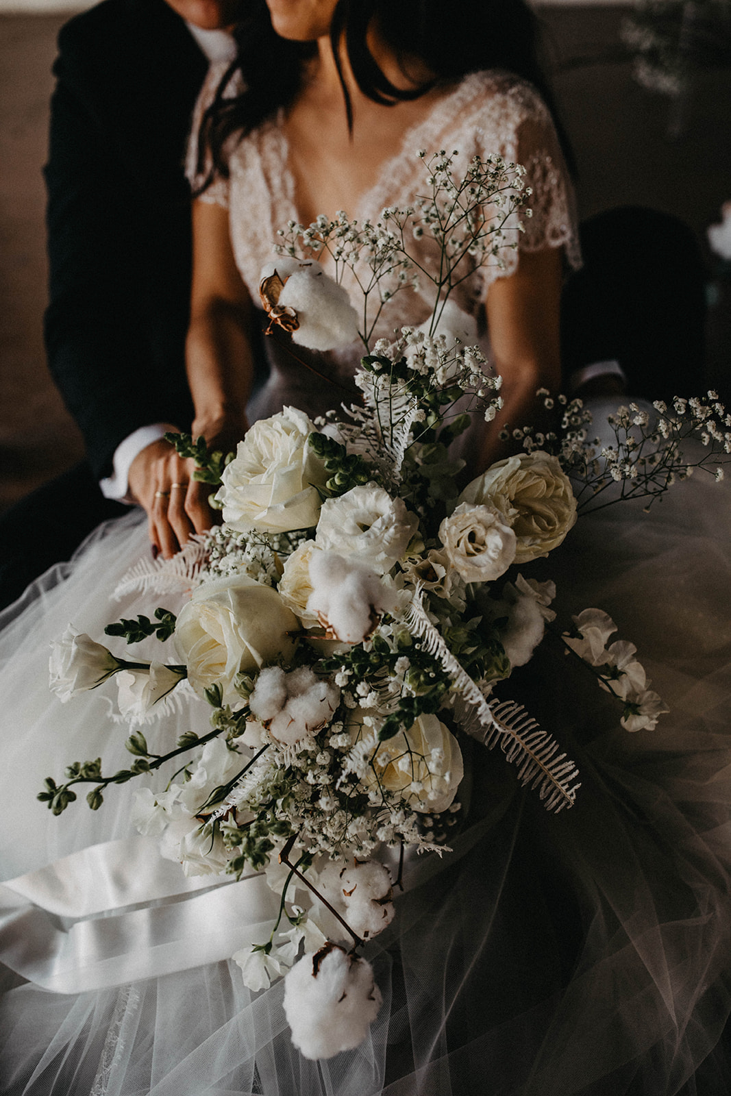 Modern Babies Breath Wedding Inspiration - Arizona florist Phoenix scottsdale Mesa chandler Sedona Prescott - Baby's Breath Bouquet with White Roses, Cotton, and Lisianthus