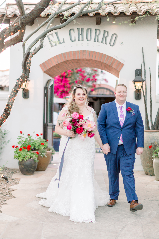 Roxanne and Brandon's El Chorro Wedding - Arizona florist Phoenix scottsdale Mesa chandler Sedona Prescott - Bride and Groom with bright colorful bouquet