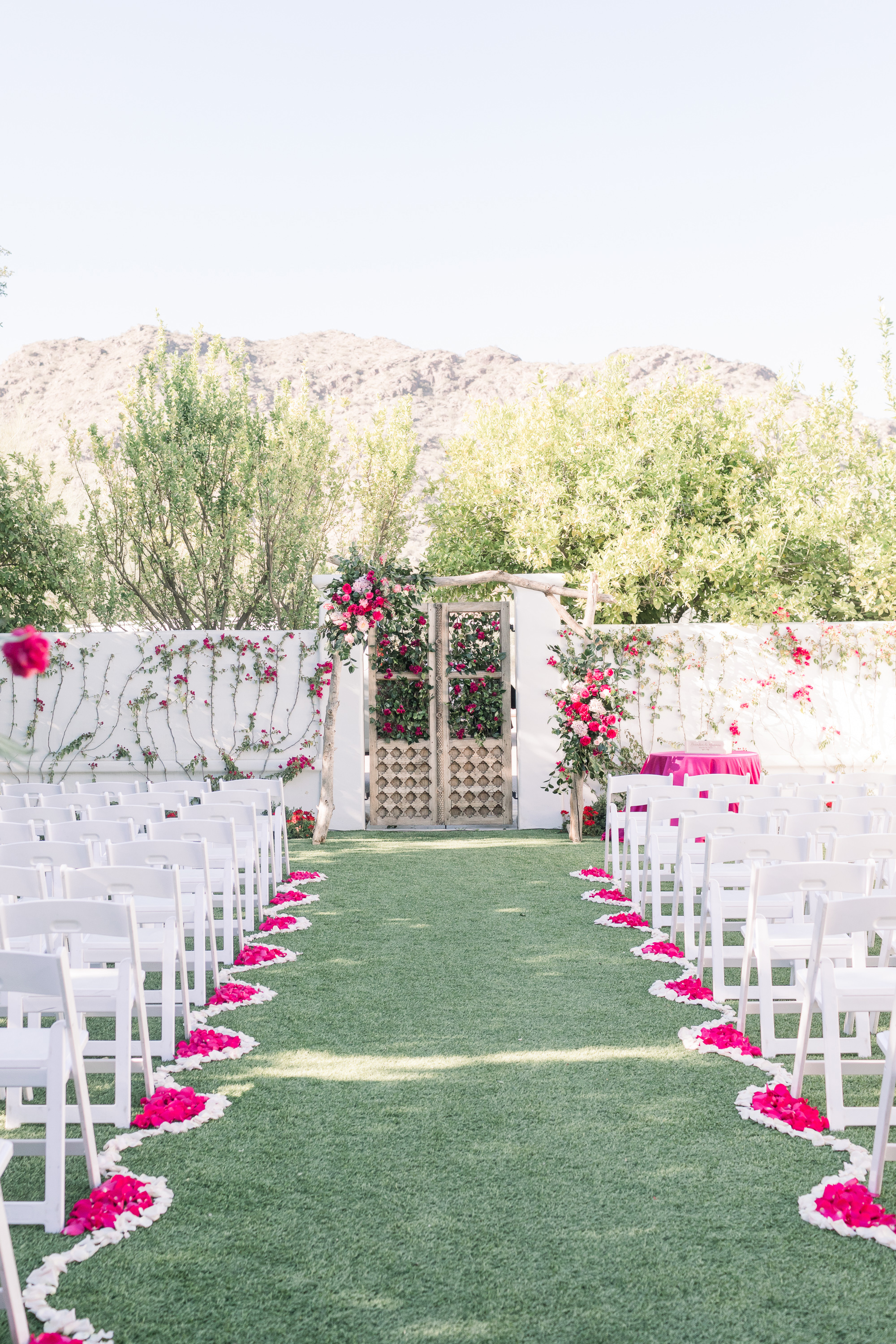 Roxanne and Brandon's El Chorro Wedding - Arizona florist Phoenix scottsdale Mesa chandler Sedona Prescott - Ceremony Decor Inspiration with Blush and Hot Pink Flowers