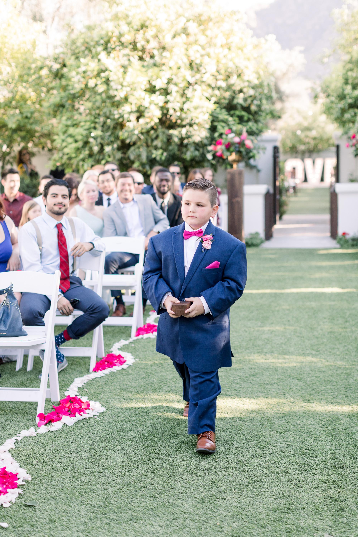 Roxanne and Brandon's El Chorro Wedding - Arizona florist Phoenix scottsdale Mesa chandler Sedona Prescott - Ring Bearer