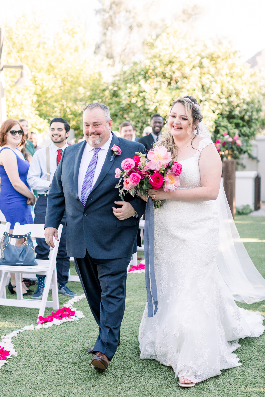 Roxanne and Brandon's El Chorro Wedding - Arizona florist Phoenix scottsdale Mesa chandler Sedona Prescott - Bride Walking Down the Aisle