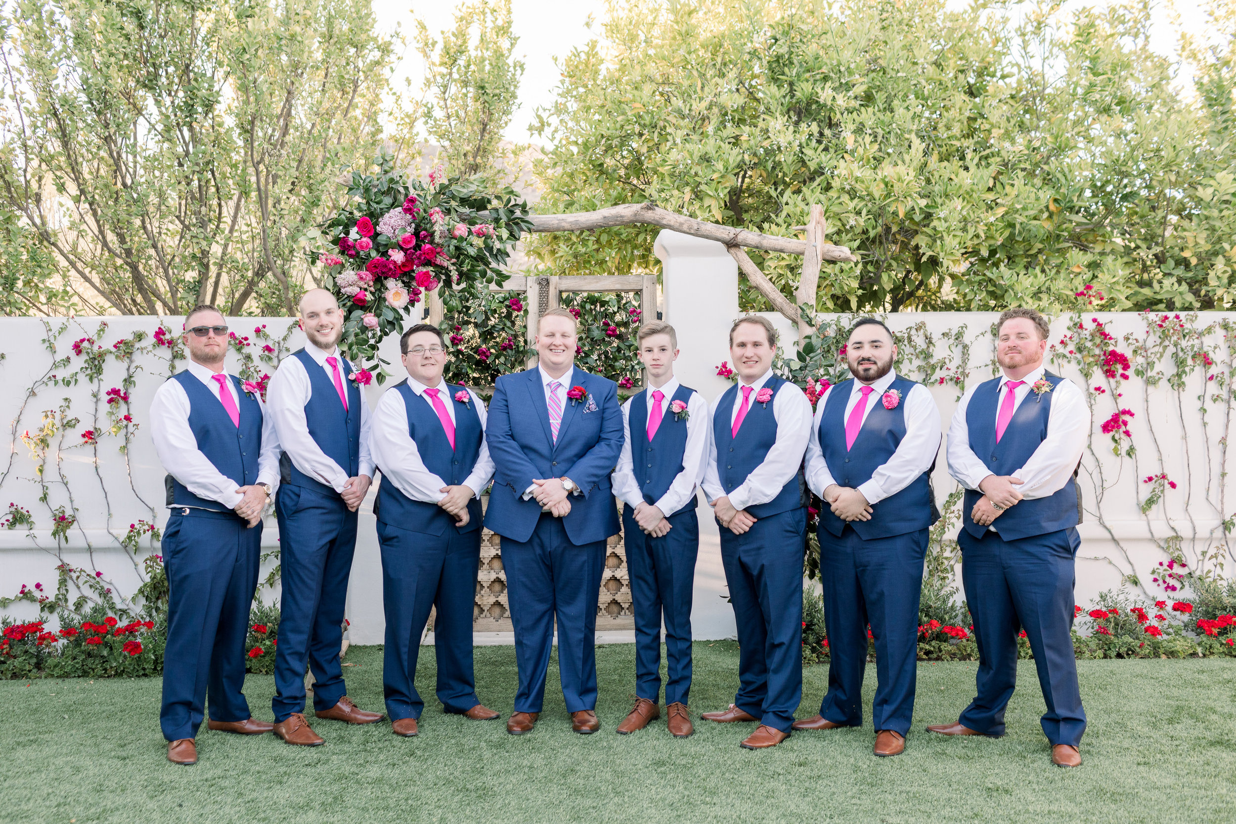 Roxanne and Brandon's El Chorro Wedding - Arizona florist Phoenix scottsdale Mesa chandler Sedona Prescott - Groom and Groomsmen