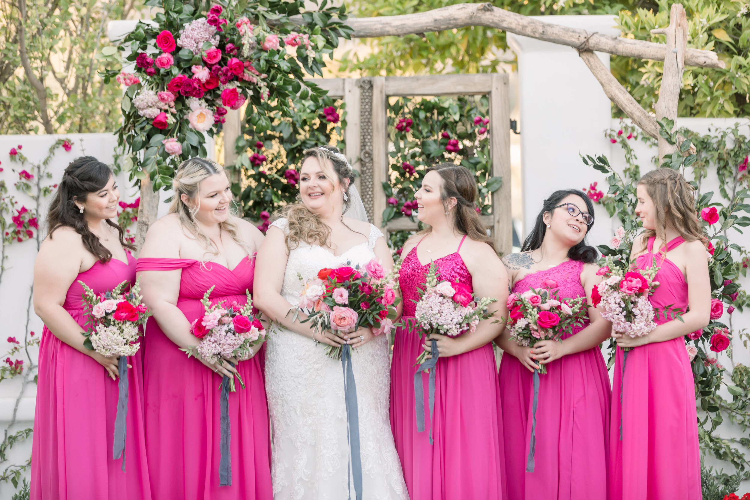 Roxanne and Brandon's El Chorro Wedding - Arizona florist Phoenix scottsdale Mesa chandler Sedona Prescott - Bride and Bridesmaids