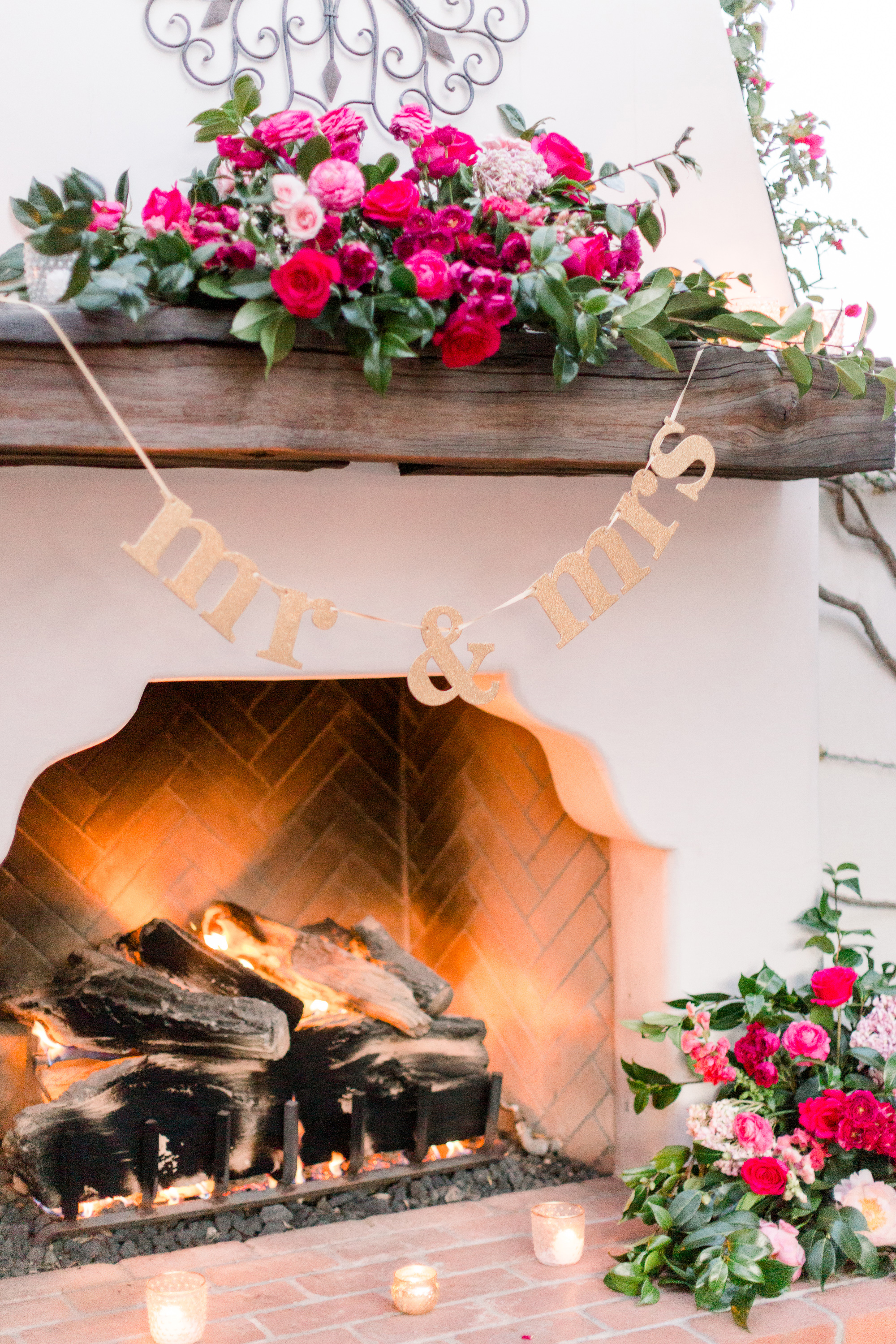 Roxanne and Brandon's El Chorro Wedding - Arizona florist Phoenix scottsdale Mesa chandler Sedona Prescott - Sweetheart Table Fireplace Decor