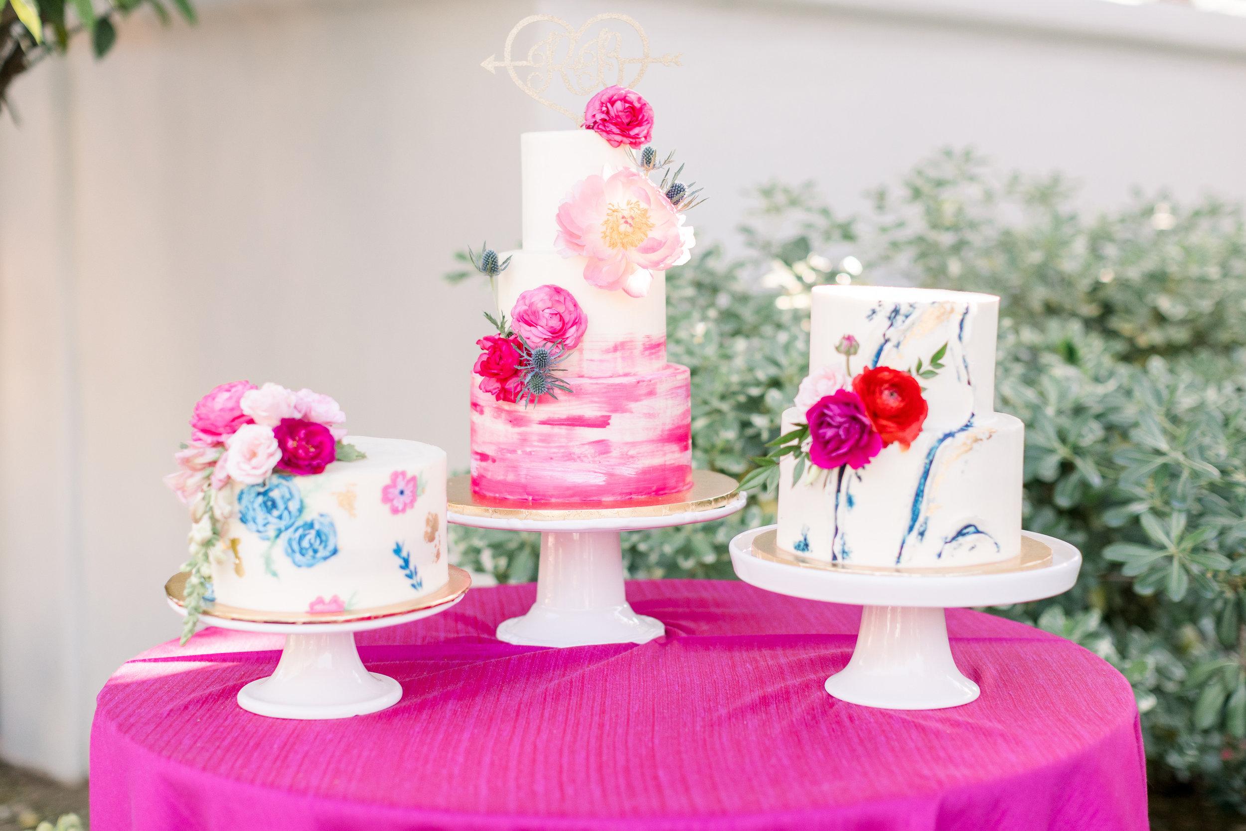 Roxanne and Brandon's El Chorro Wedding - Arizona florist Phoenix scottsdale Mesa chandler Sedona Prescott - Trio of Wedding Cakes