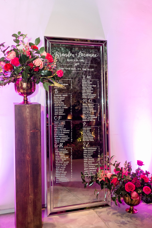 Roxanne and Brandon's El Chorro Wedding - Arizona florist Phoenix scottsdale Mesa chandler Sedona Prescott - Escort Card Display with Mirror and oversize arrangements