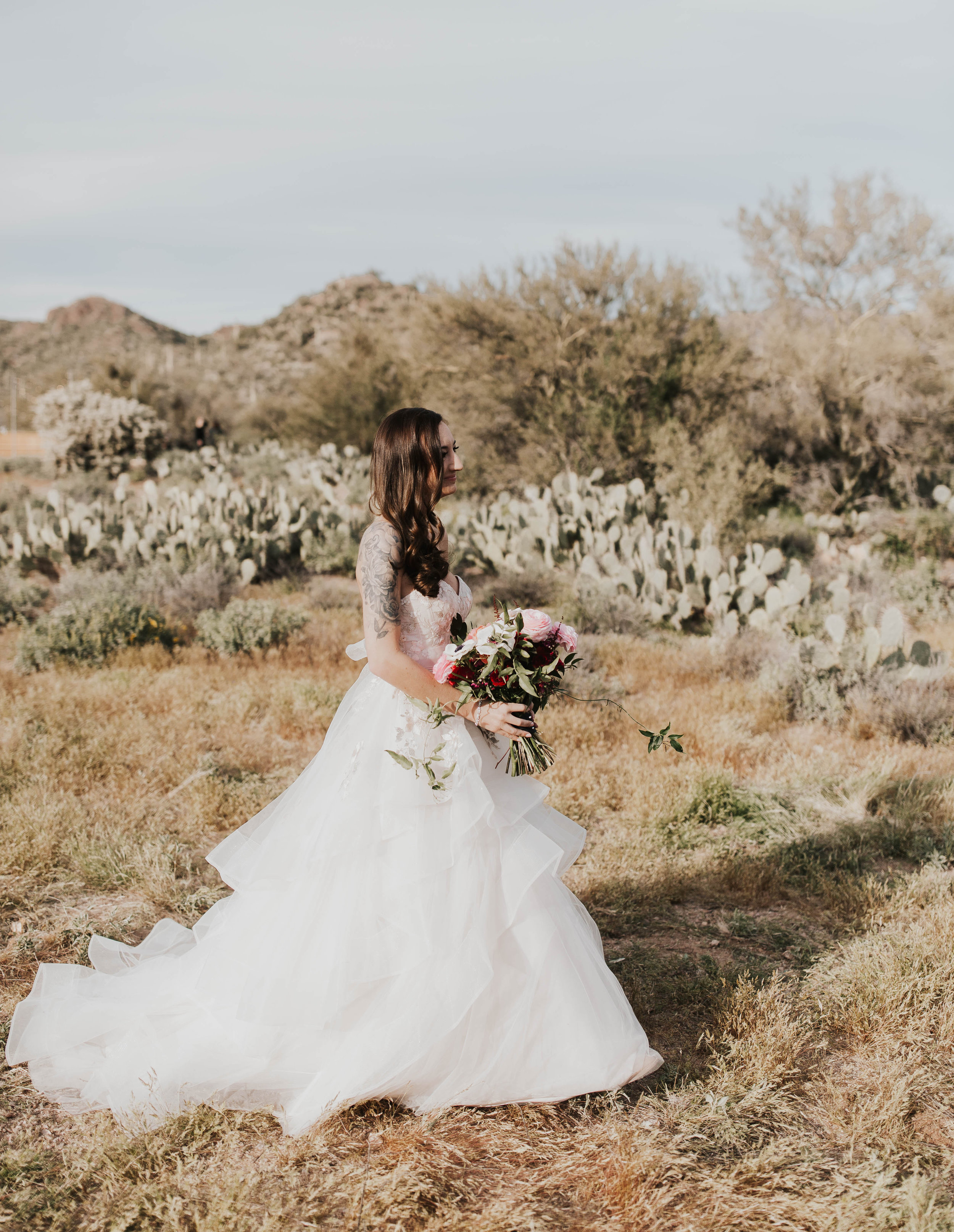 Desert Wedding at Tela Peralta - Arizona florist Phoenix scottsdale Mesa chandler Sedona Flagstaff Prescott - Bride Walking Down the Aisle