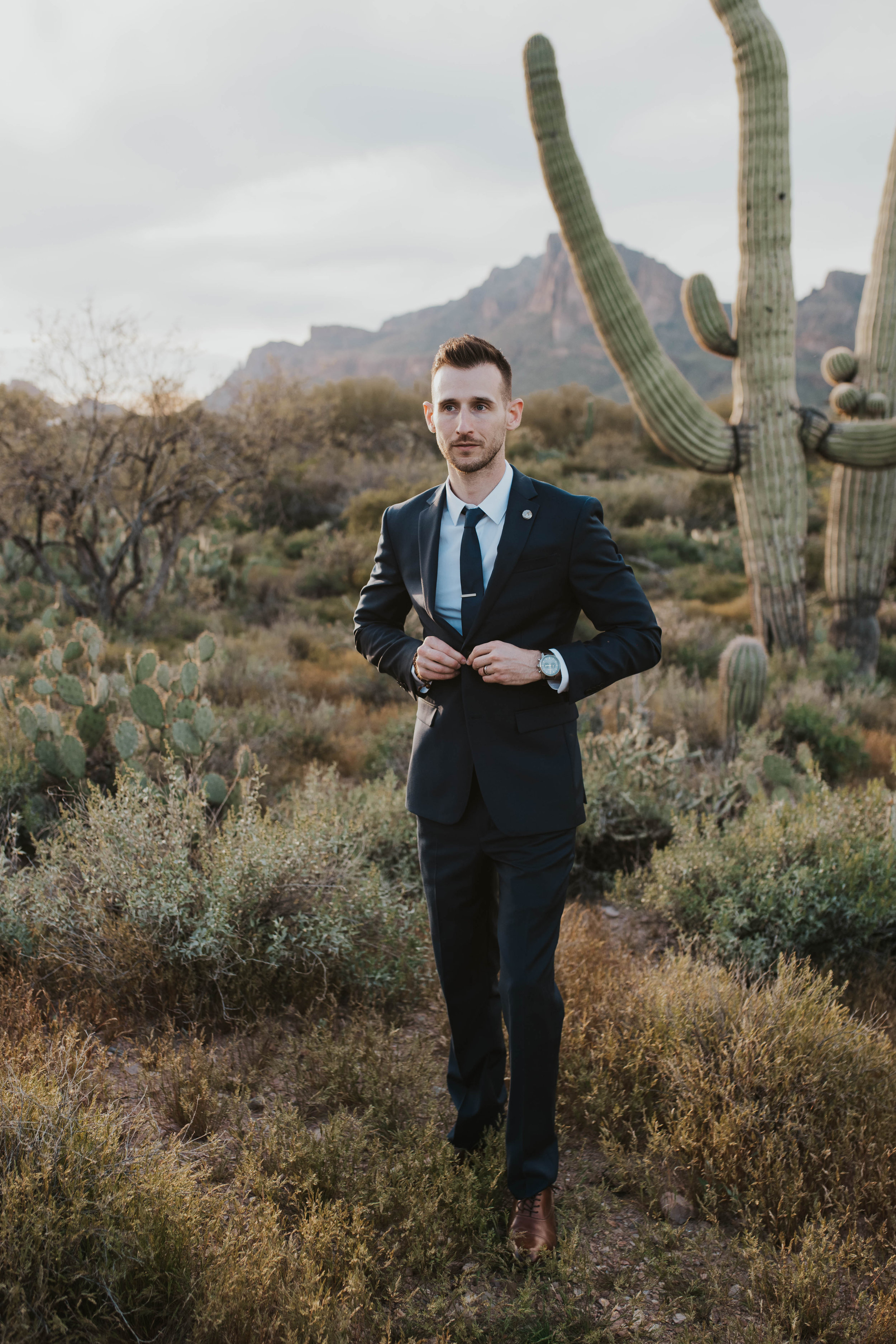 Desert Wedding at Tela Peralta - Arizona florist Phoenix scottsdale Mesa chandler Sedona Flagstaff Prescott - Groom