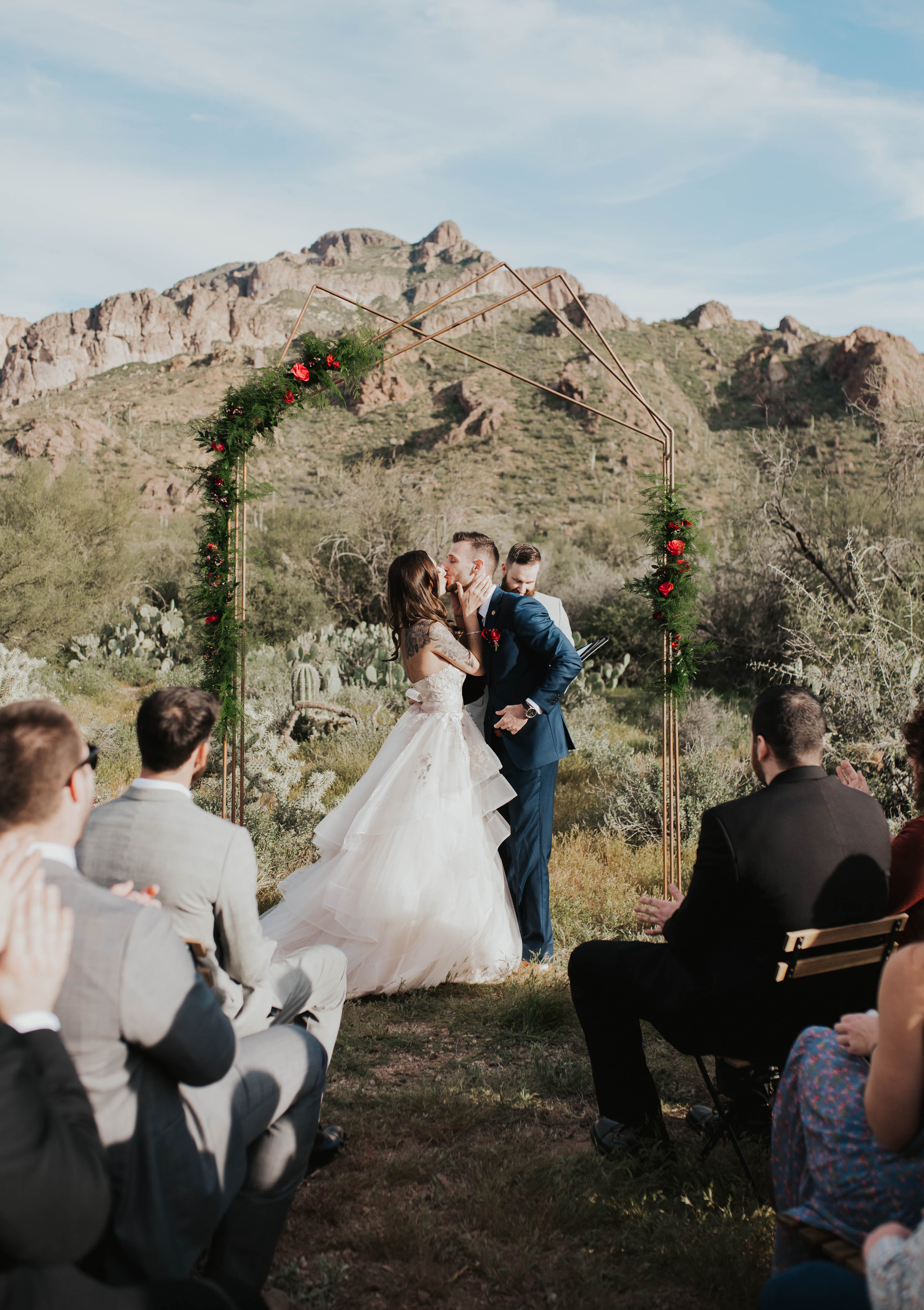 Desert Wedding at Tela Peralta - Arizona florist Phoenix scottsdale Mesa chandler Sedona Flagstaff Prescott - First Kiss